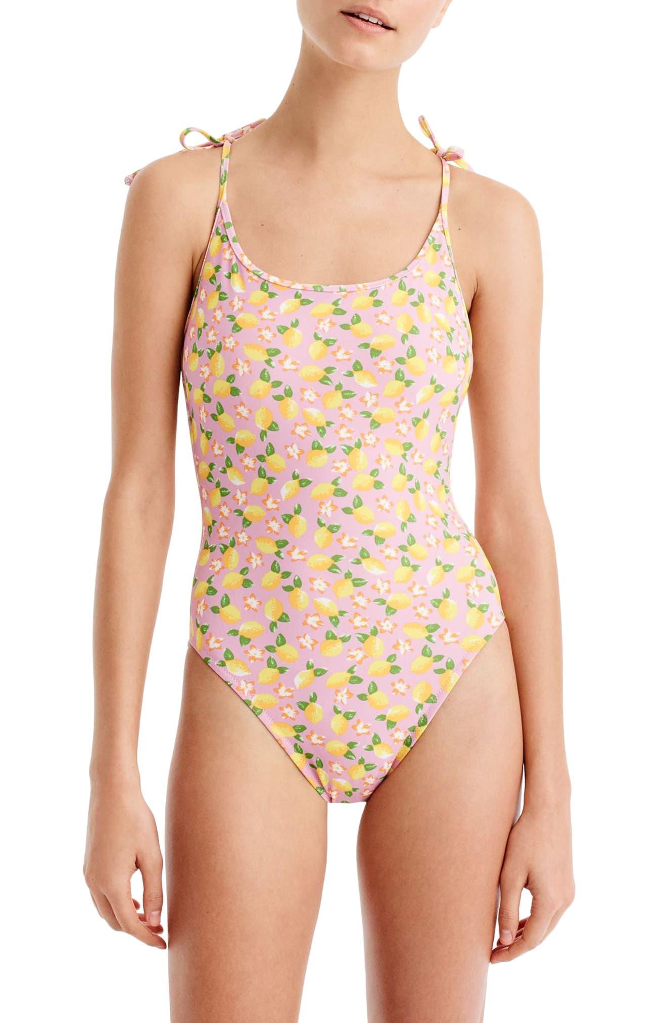 Lemon Print One-Piece Swimsuit,                         Main,                         color, 703