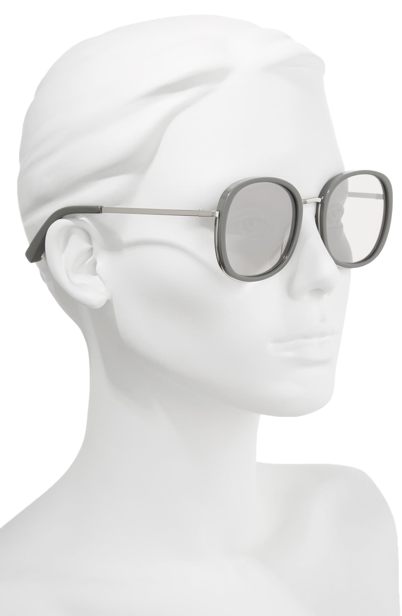 Jones 51mm Round Sunglasses,                             Alternate thumbnail 2, color,                             KHAKI AND SILVER