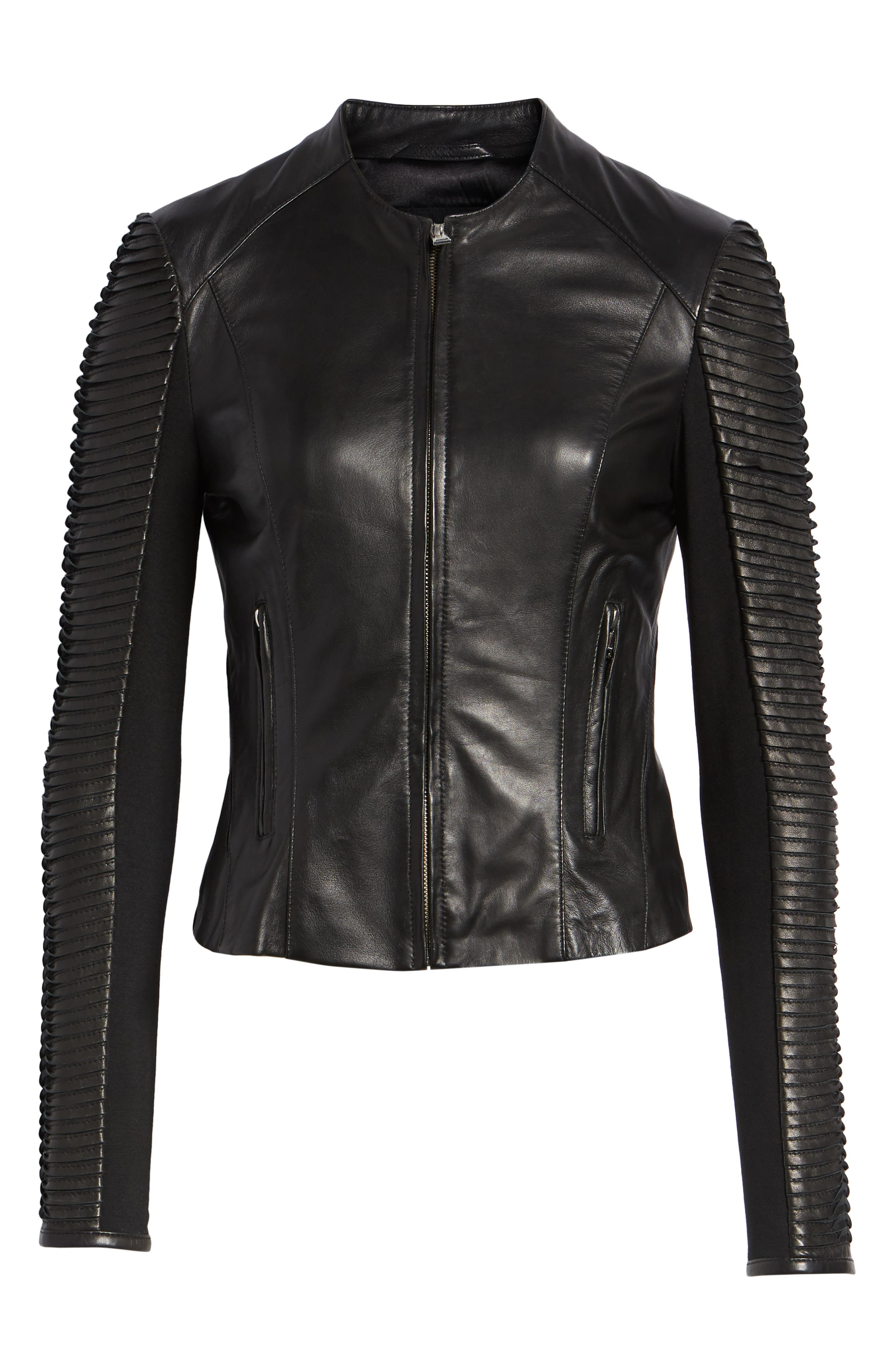 Collarless Pleated Sleeve Leather Jacket,                             Alternate thumbnail 6, color,                             BLACK
