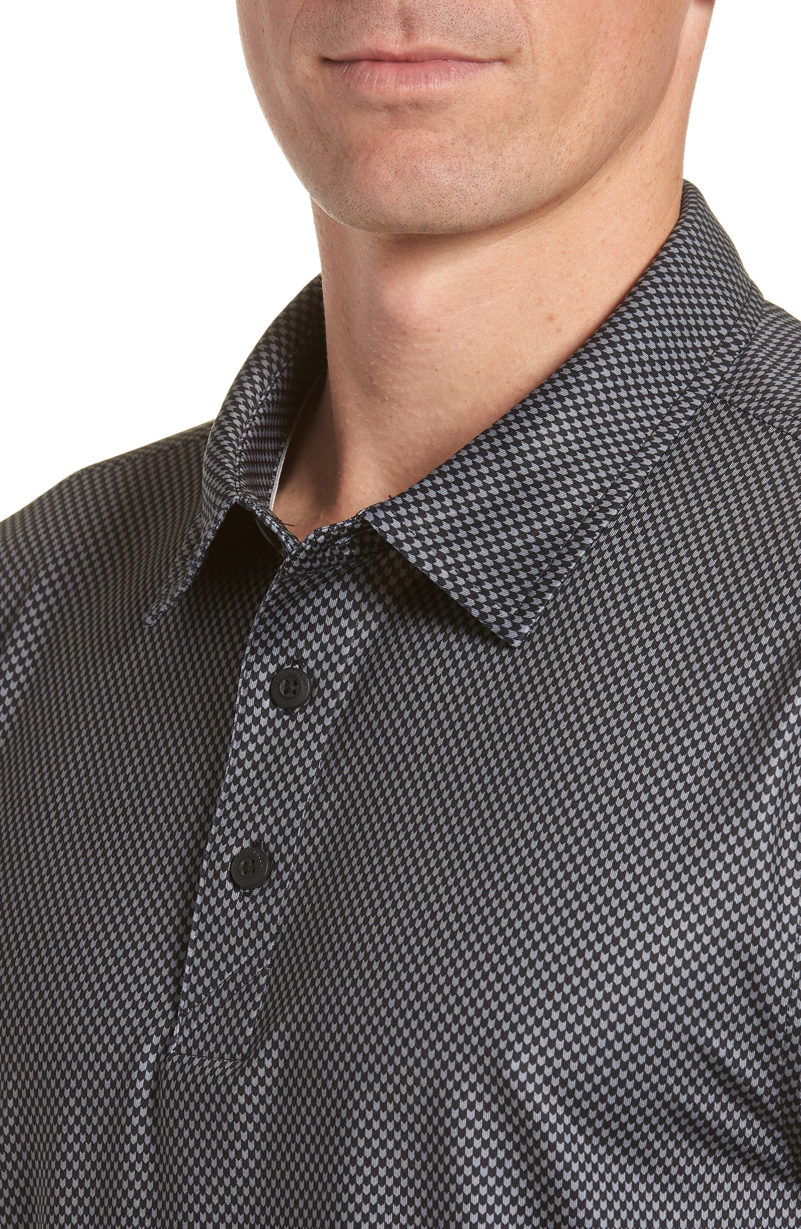 Chad Micro Pattern Polo,                             Alternate thumbnail 4, color,                             BLACK
