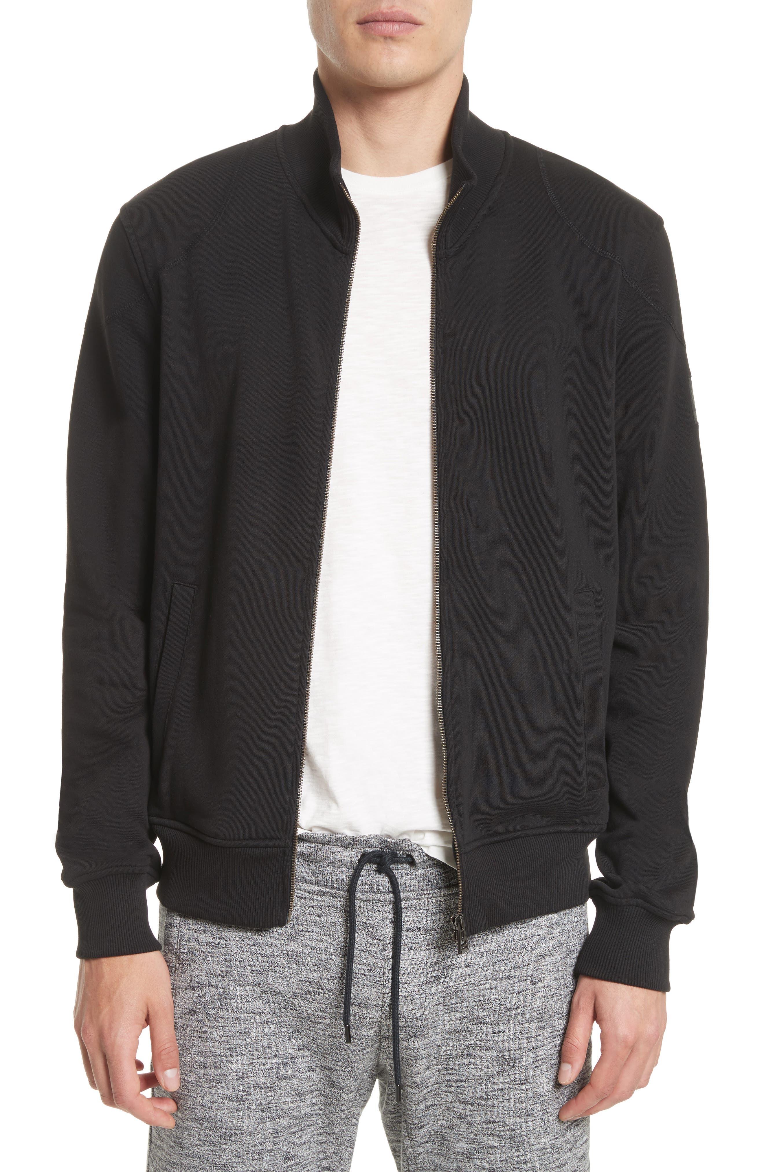 Belstaff Staplefield Mock Neck Full Zip Sweater, Black