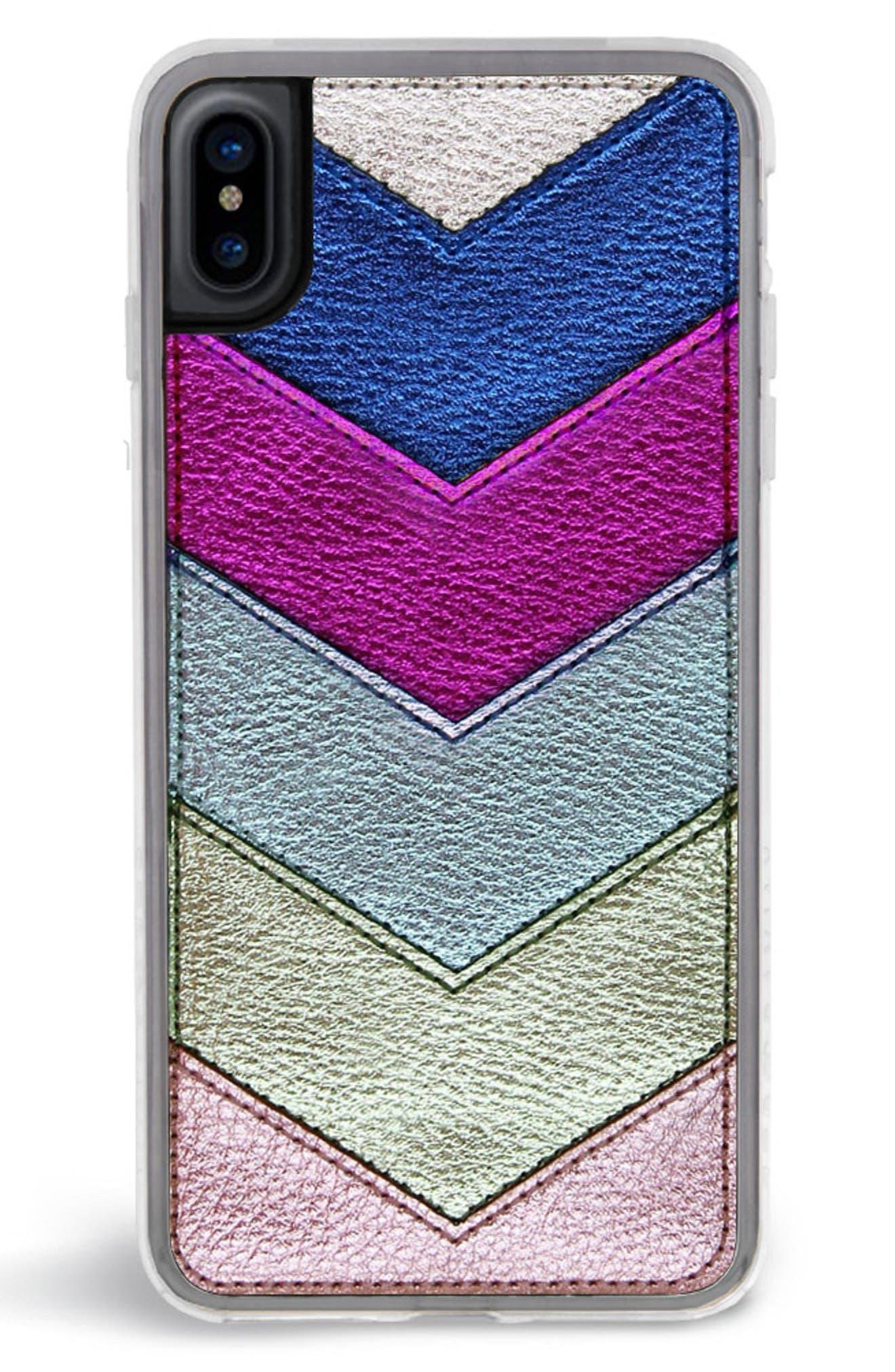 Chevron Faux Leather iPhone 6/6s/7/8 & 6/6s/7/8 Plus Case,                             Alternate thumbnail 5, color,                             650