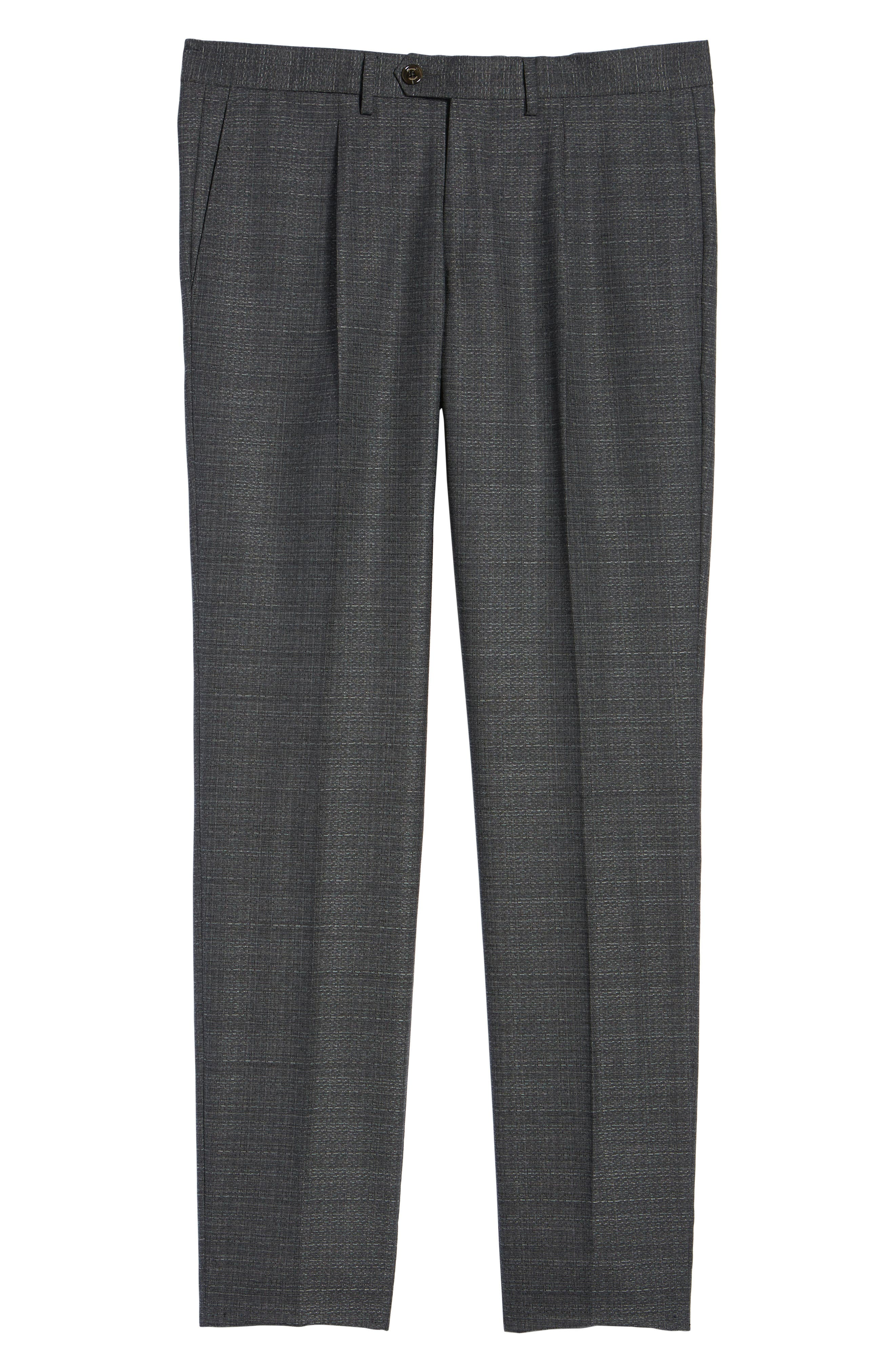 Pleated Solid Wool Trousers,                             Alternate thumbnail 6, color,                             031