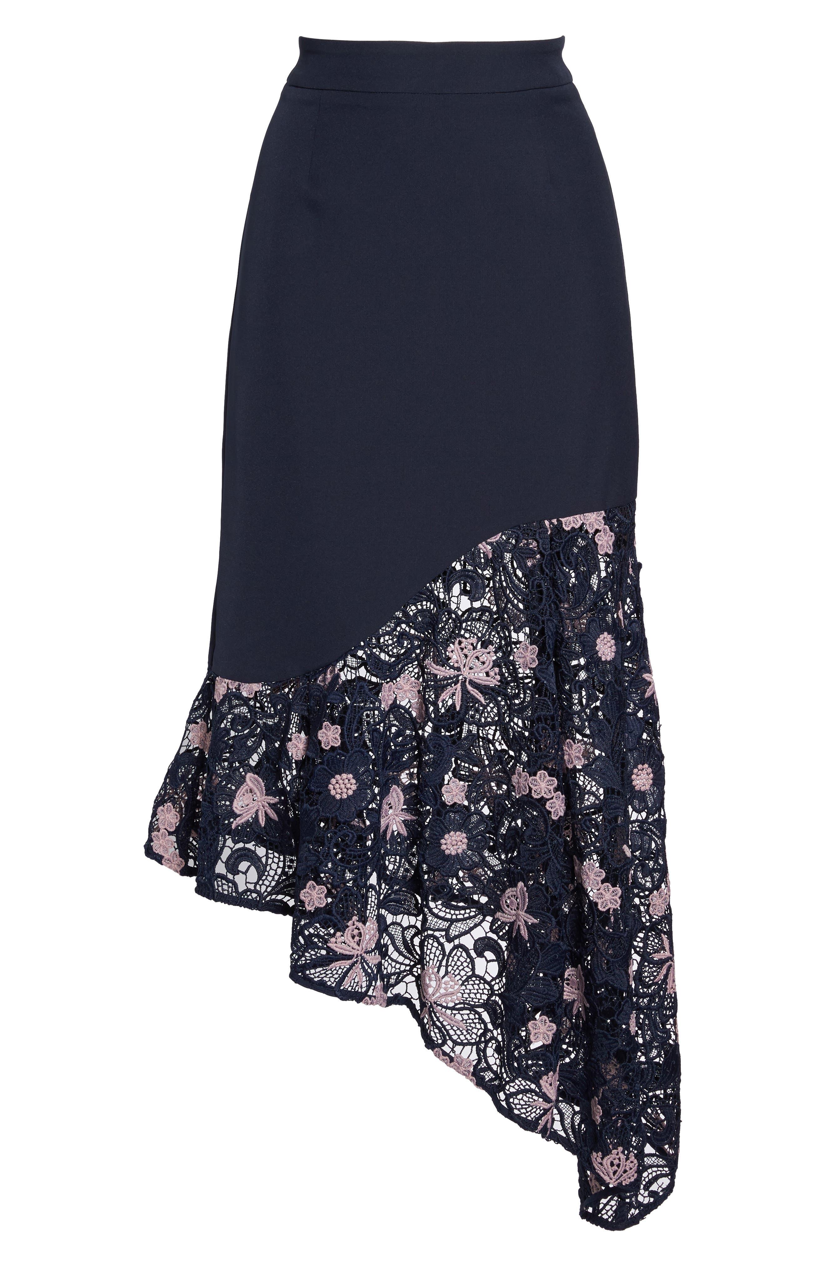 Botanic Bloom Lace Asymmetric Skirt,                             Alternate thumbnail 6, color,                             413