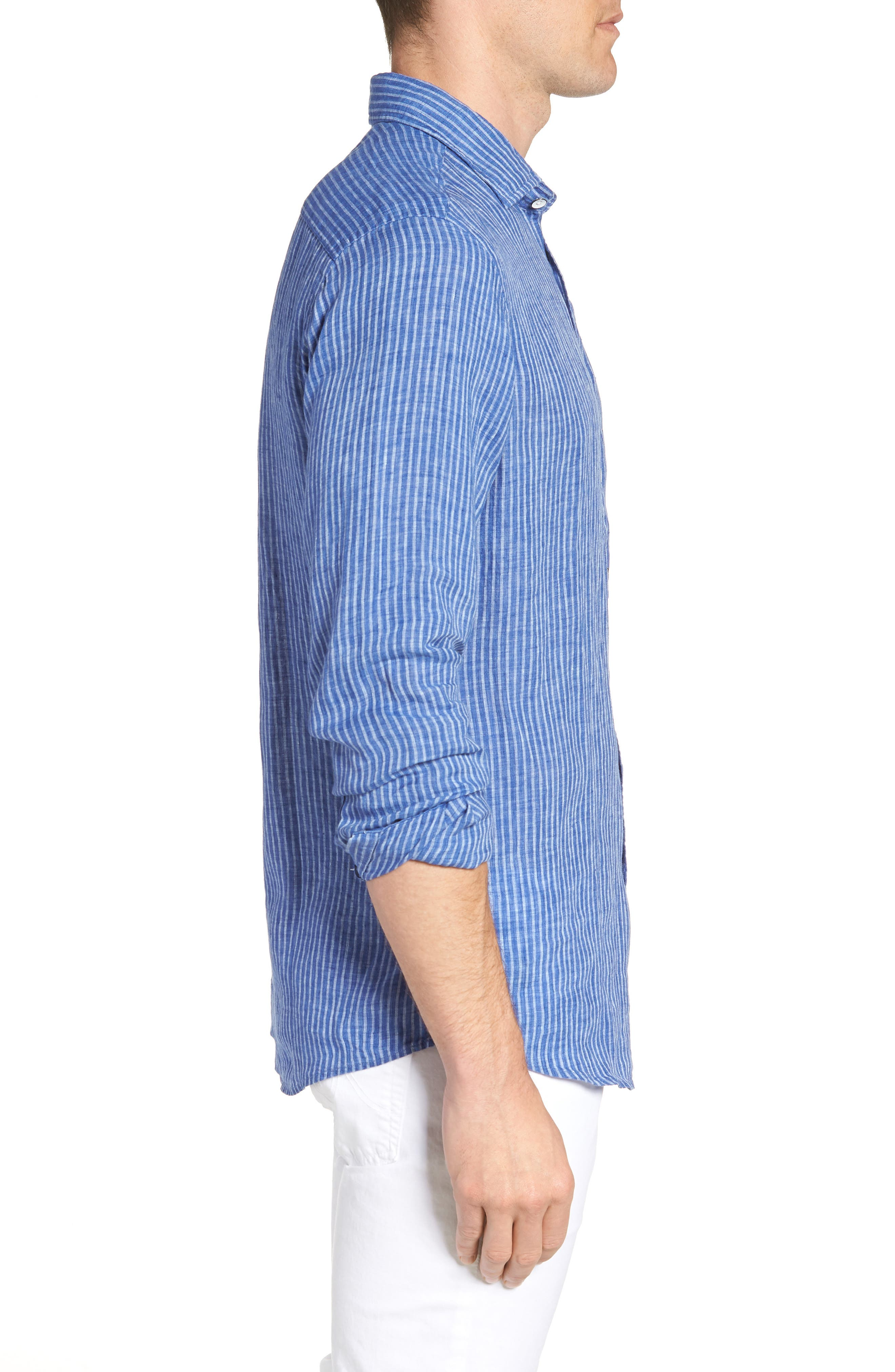 Warwick Junction Stripe Linen Sport Shirt,                             Alternate thumbnail 3, color,                             ULTRAMARINE