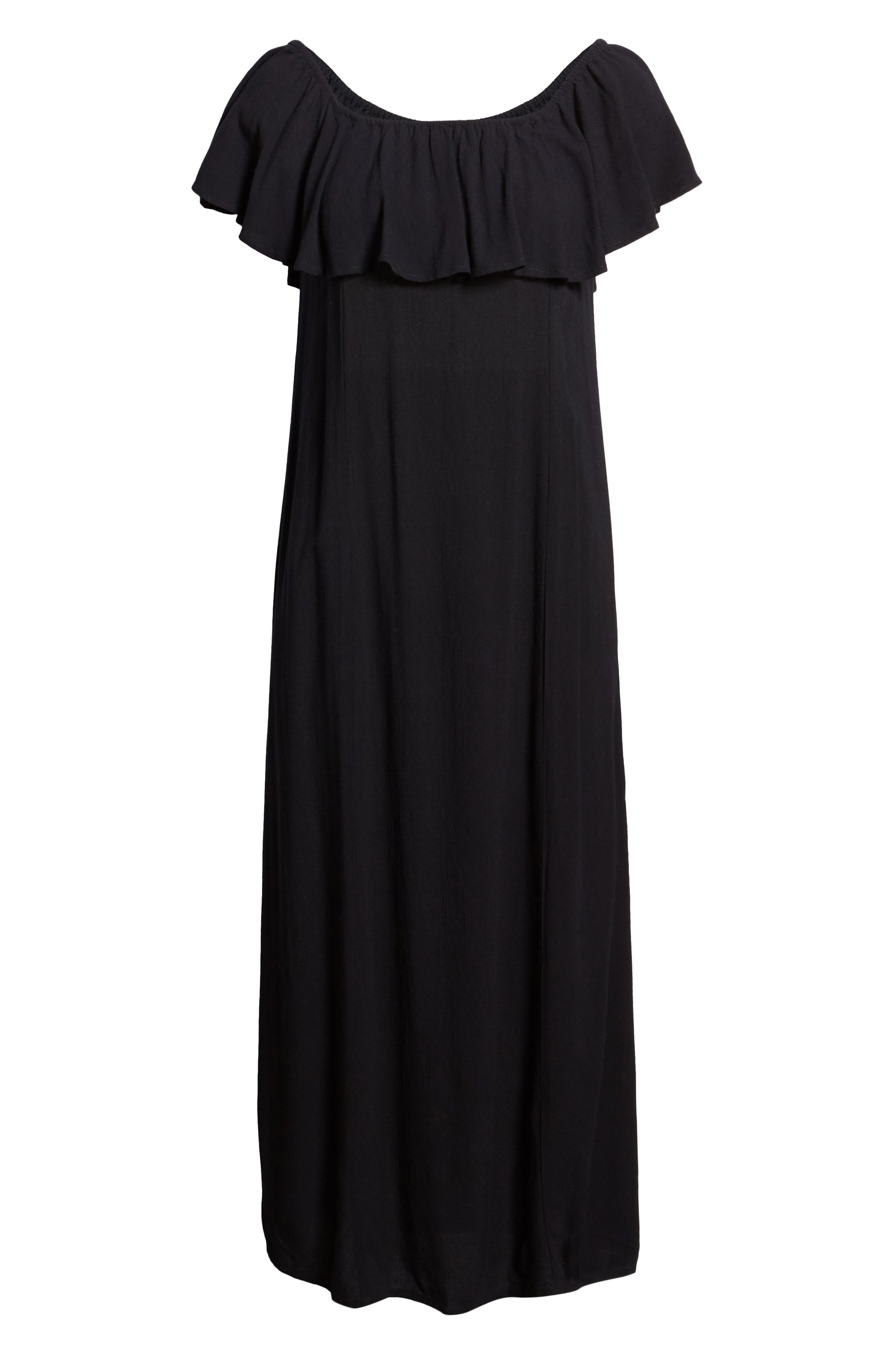 Vista Del Valle Off the Shoulder Ruffle Maxi Dress,                             Alternate thumbnail 8, color,                             001