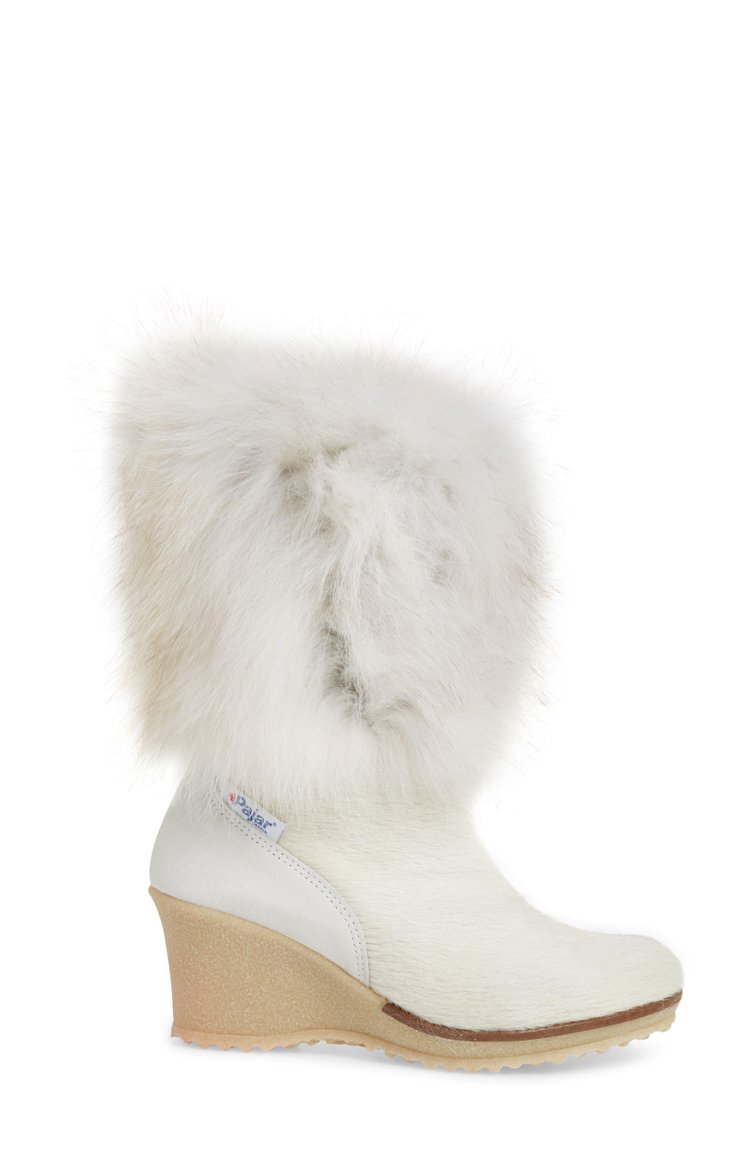 Angelina Genuine Fox Fur Wedge Boot,                             Alternate thumbnail 10, color,