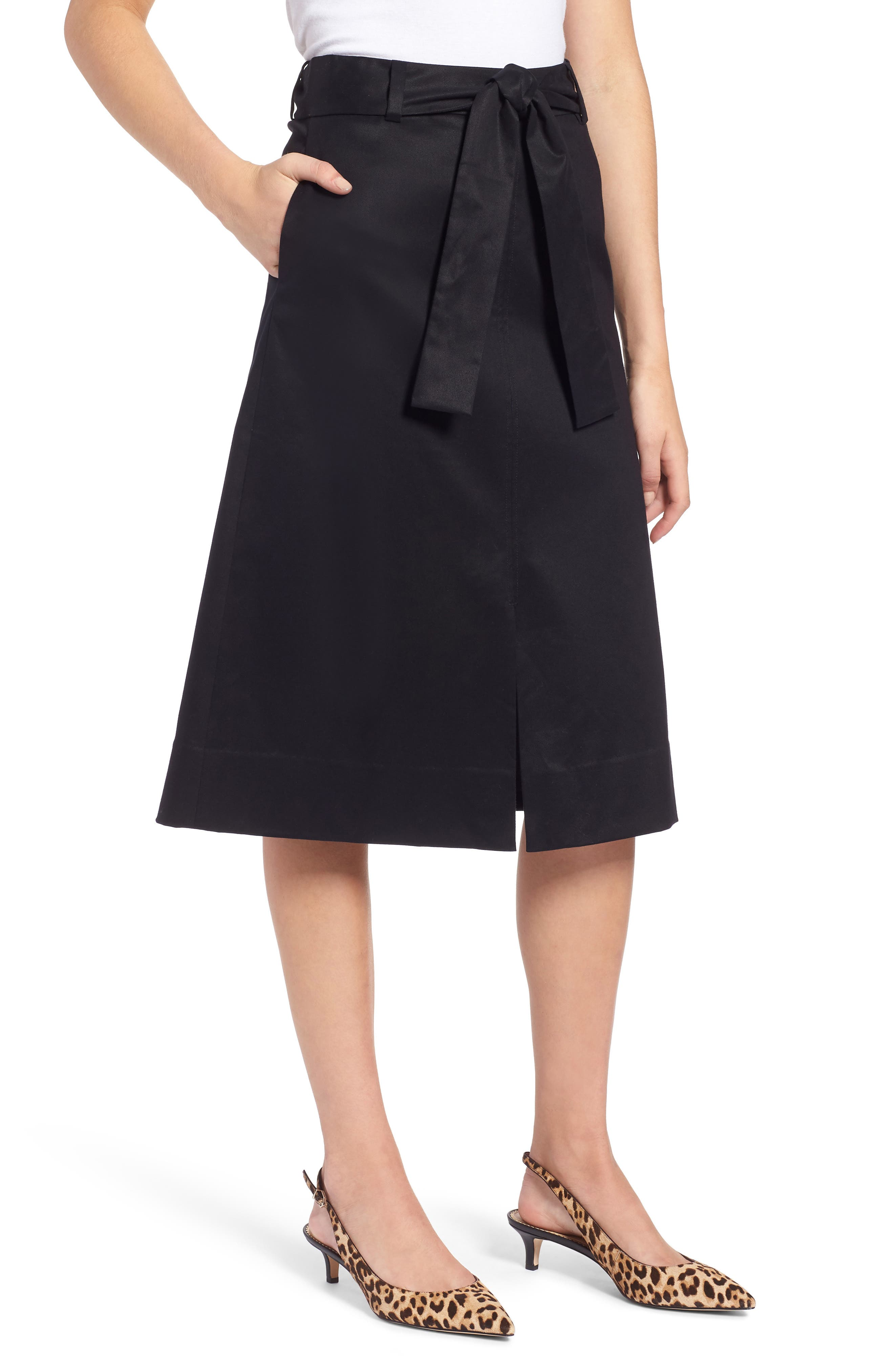 A-Line Midi Skirt,                             Main thumbnail 1, color,                             BLACK