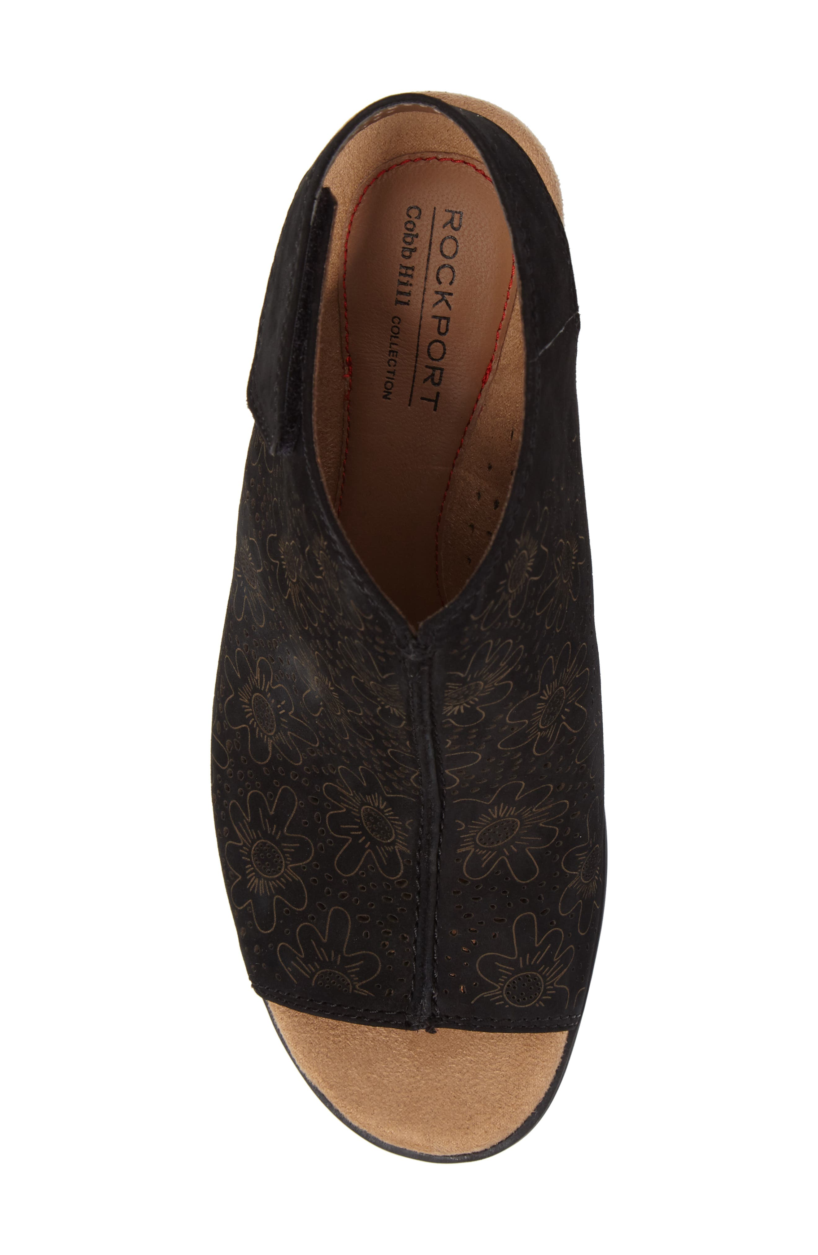 ROCKPORT COBB HILL,                             Hattie Perforated Slingback Sandal,                             Alternate thumbnail 5, color,                             BLACK NUBUCK