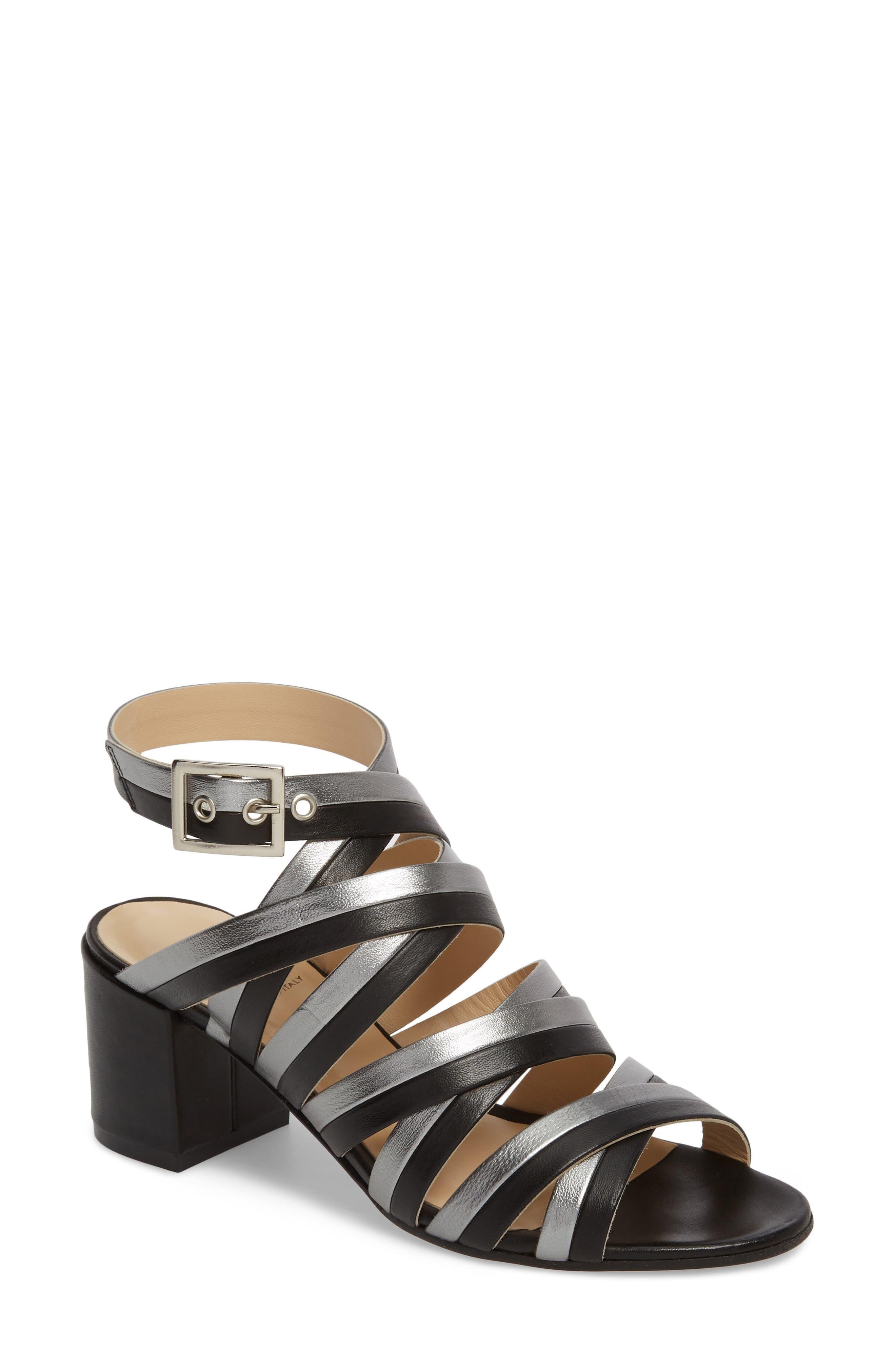 Leda Strappy Sandal,                         Main,                         color, BLACK LEATHER