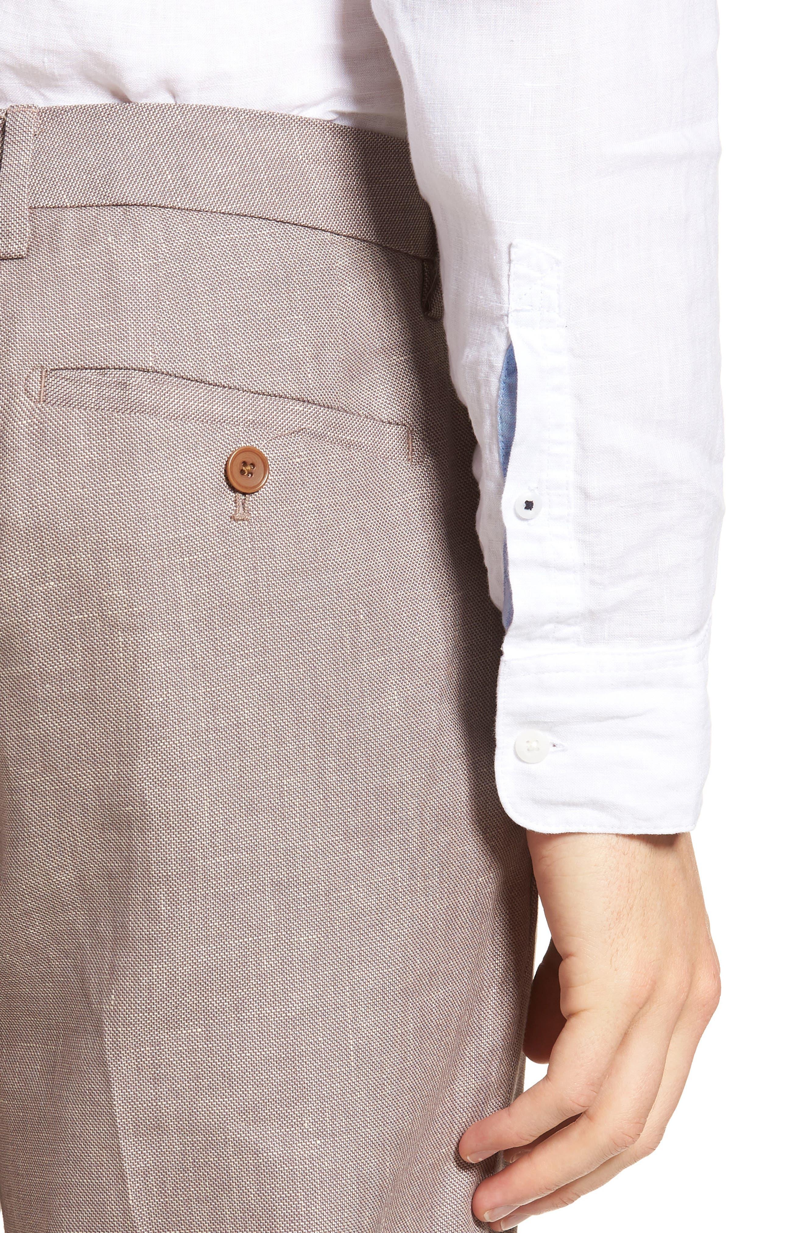Flat Front Solid Stretch Cotton & Linen Pants,                             Alternate thumbnail 8, color,