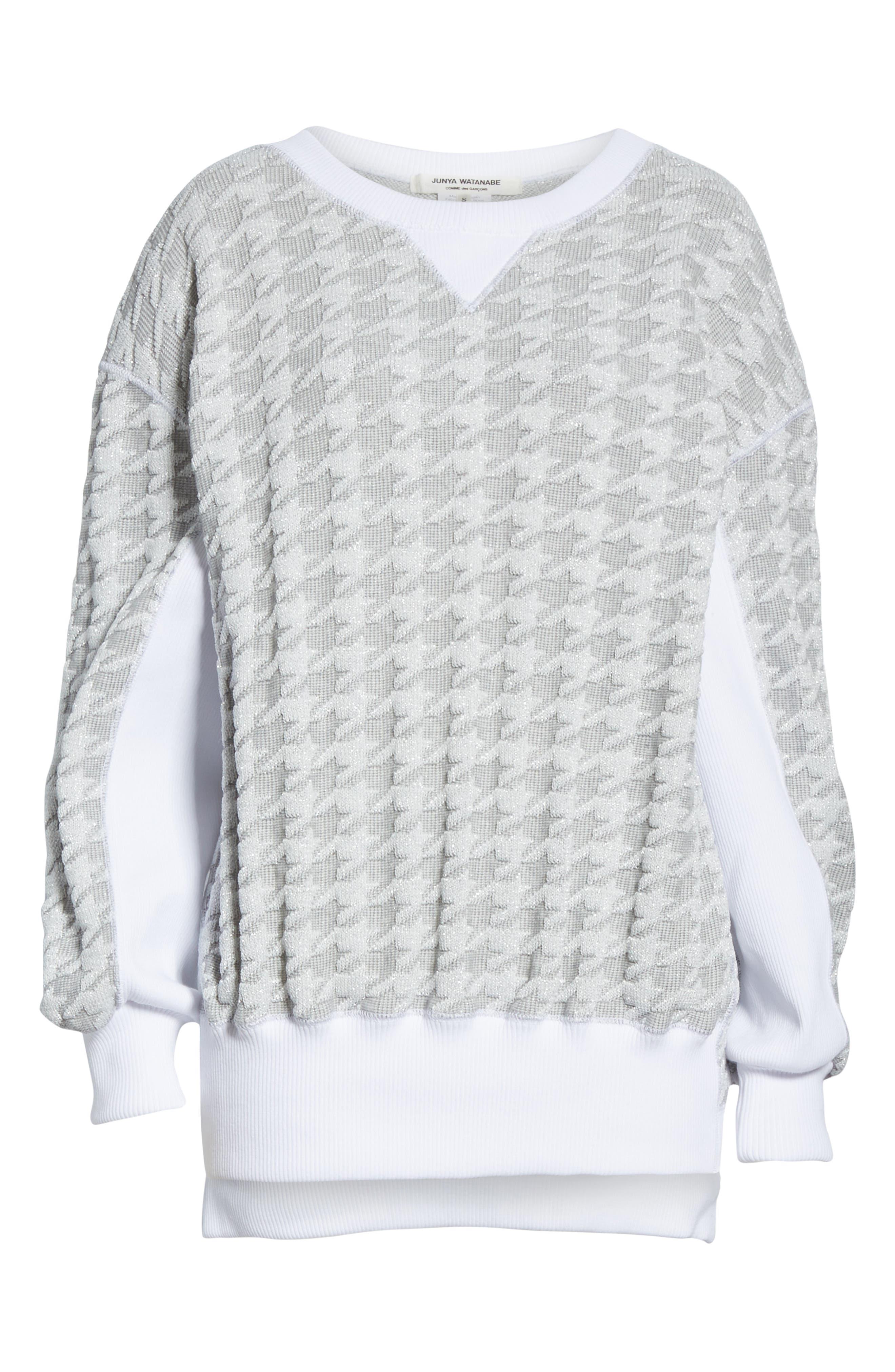 Houndstooth Sweatshirt,                             Alternate thumbnail 6, color,                             100