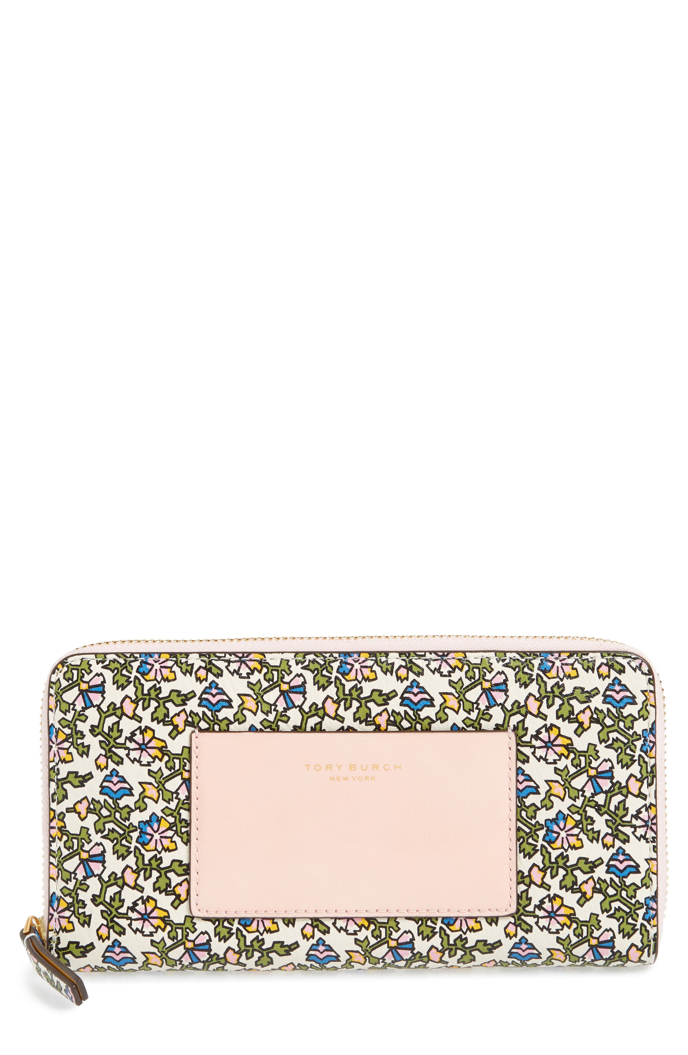 Floral Print Leather Zip Around Wallet,                             Main thumbnail 1, color,                             100