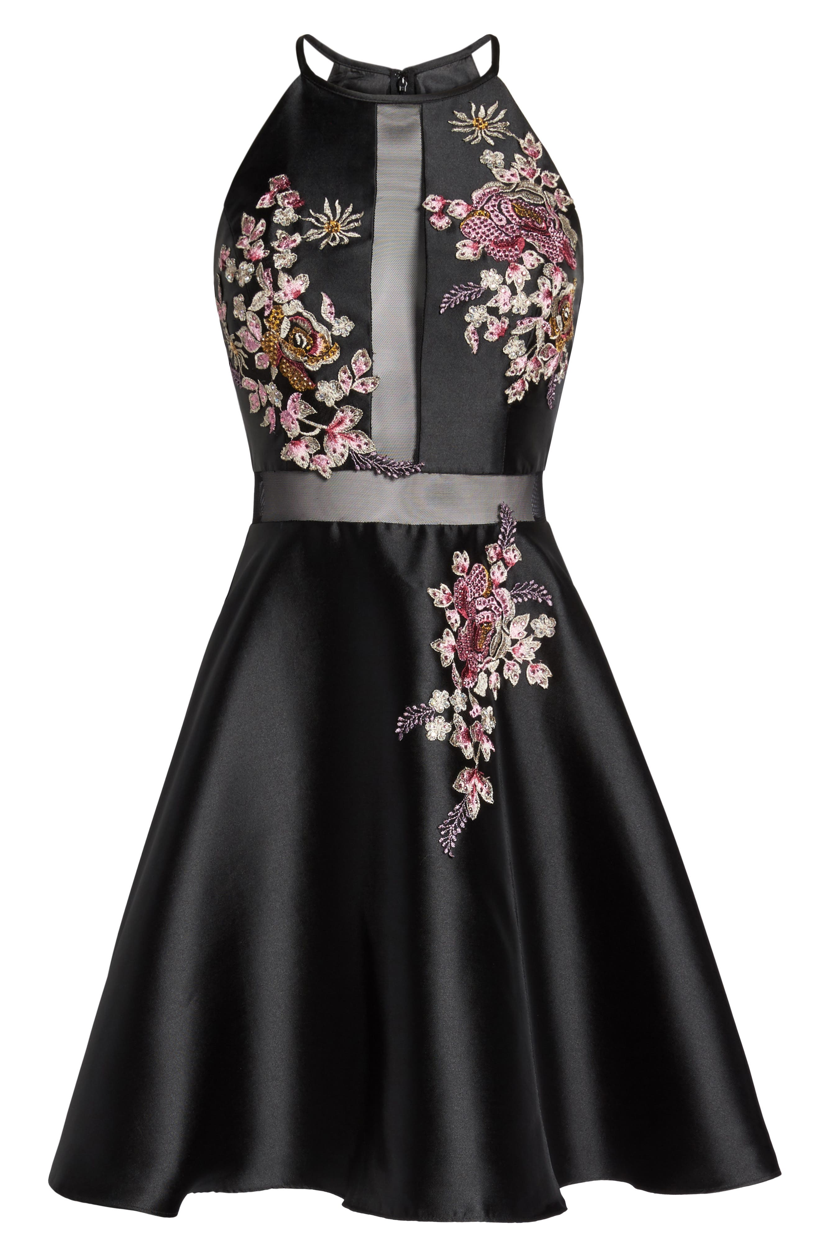 Embroidered Mikado Party Dress,                             Alternate thumbnail 6, color,                             015