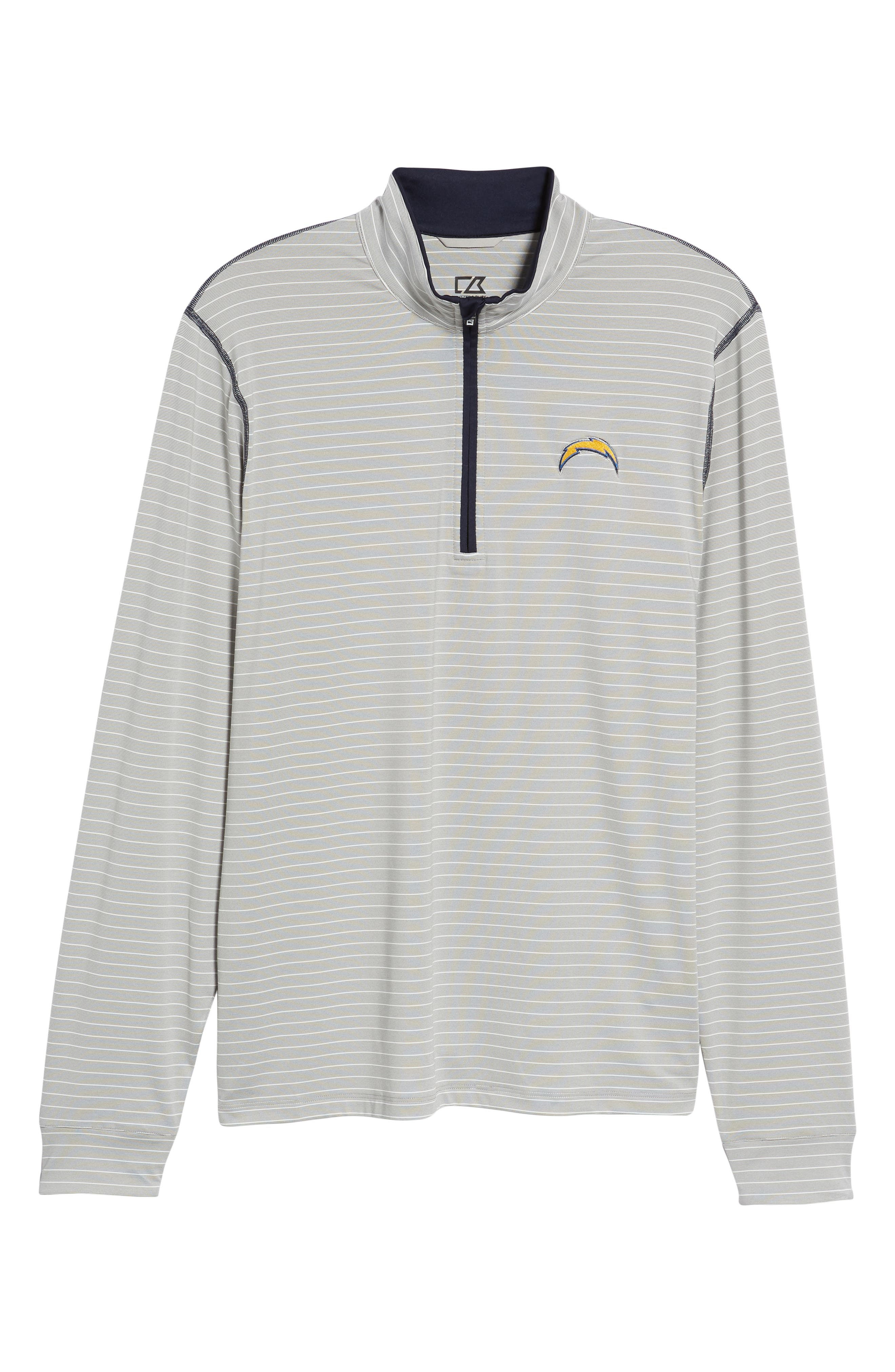 Meridian - Los Angeles Chargers Regular Fit Half Zip Pullover,                             Alternate thumbnail 6, color,                             NAVY