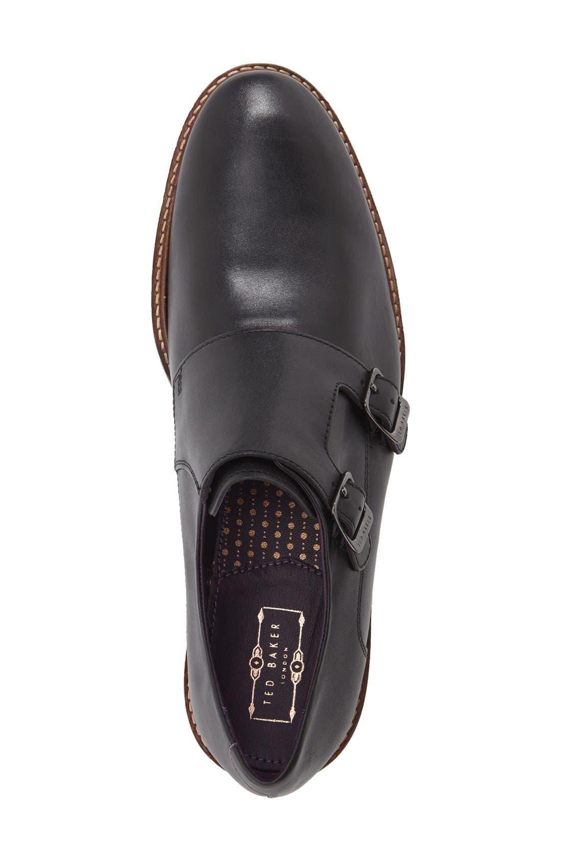 'Kartor 3' Double Monk Strap Shoe,                             Alternate thumbnail 3, color,                             001