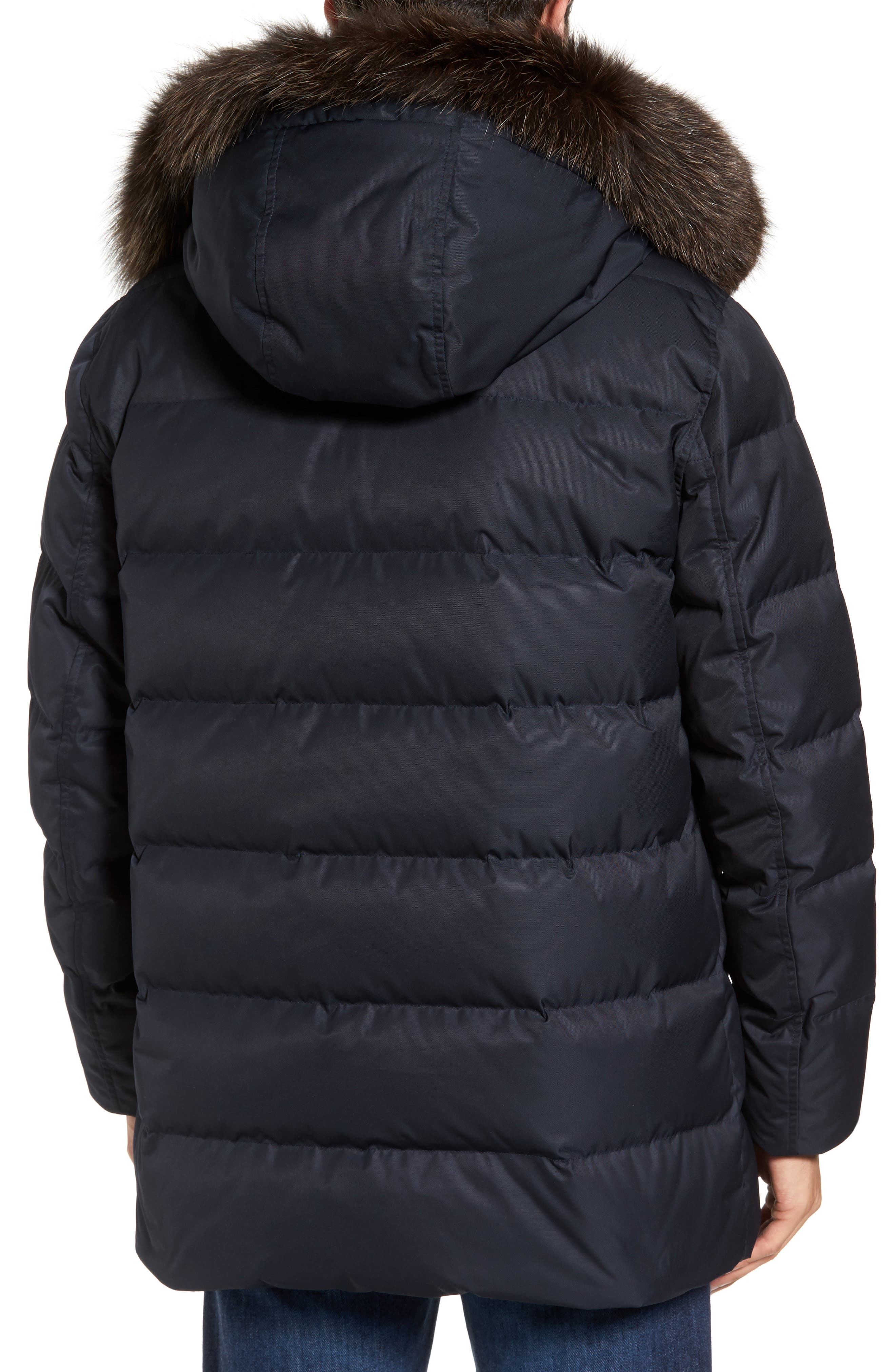 Quilted Down Jacket with Genuine Fox Fur Trim,                             Alternate thumbnail 4, color,