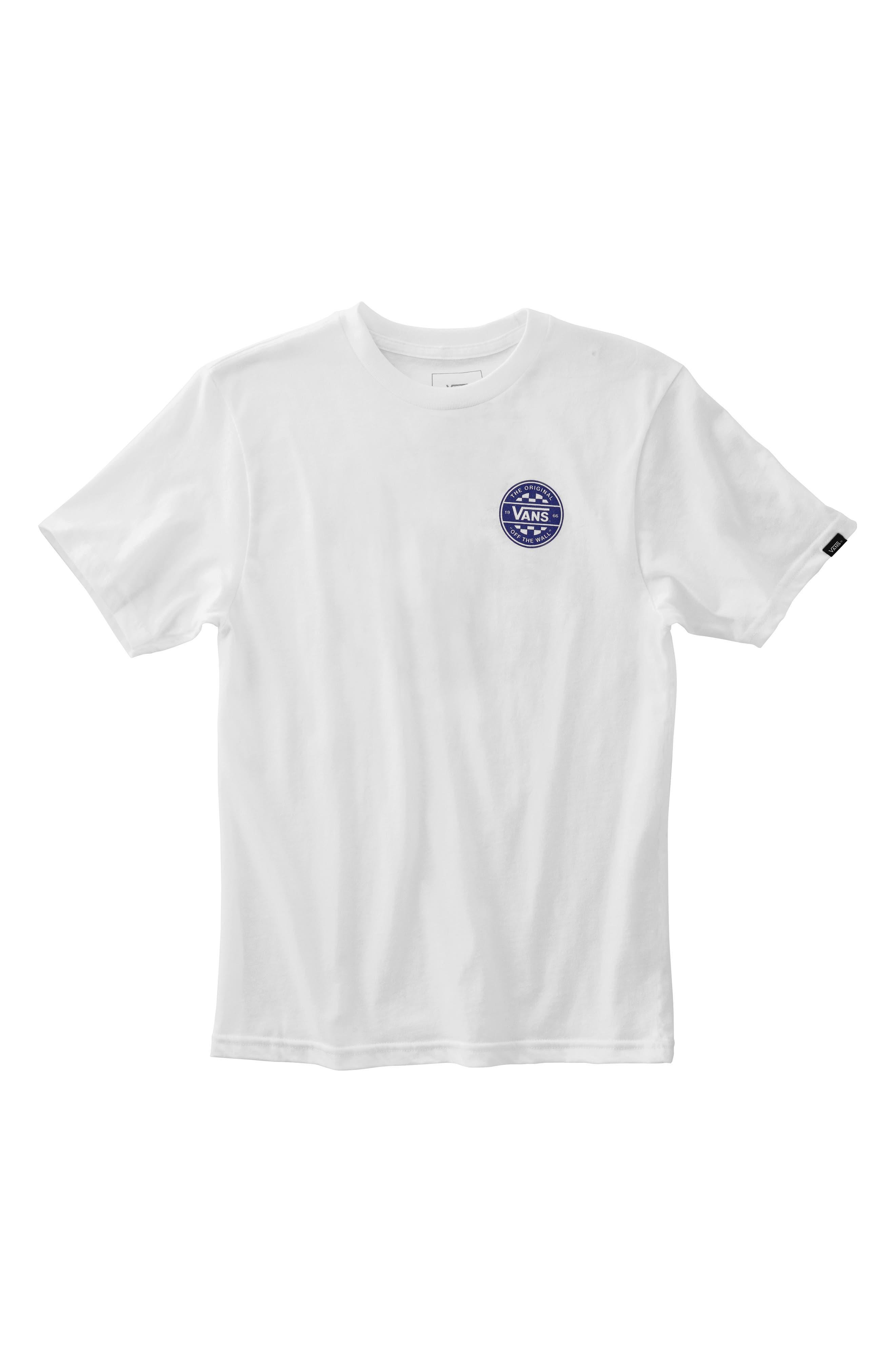 Off the Wall Checker Logo T-Shirt, Main, color, WHITE
