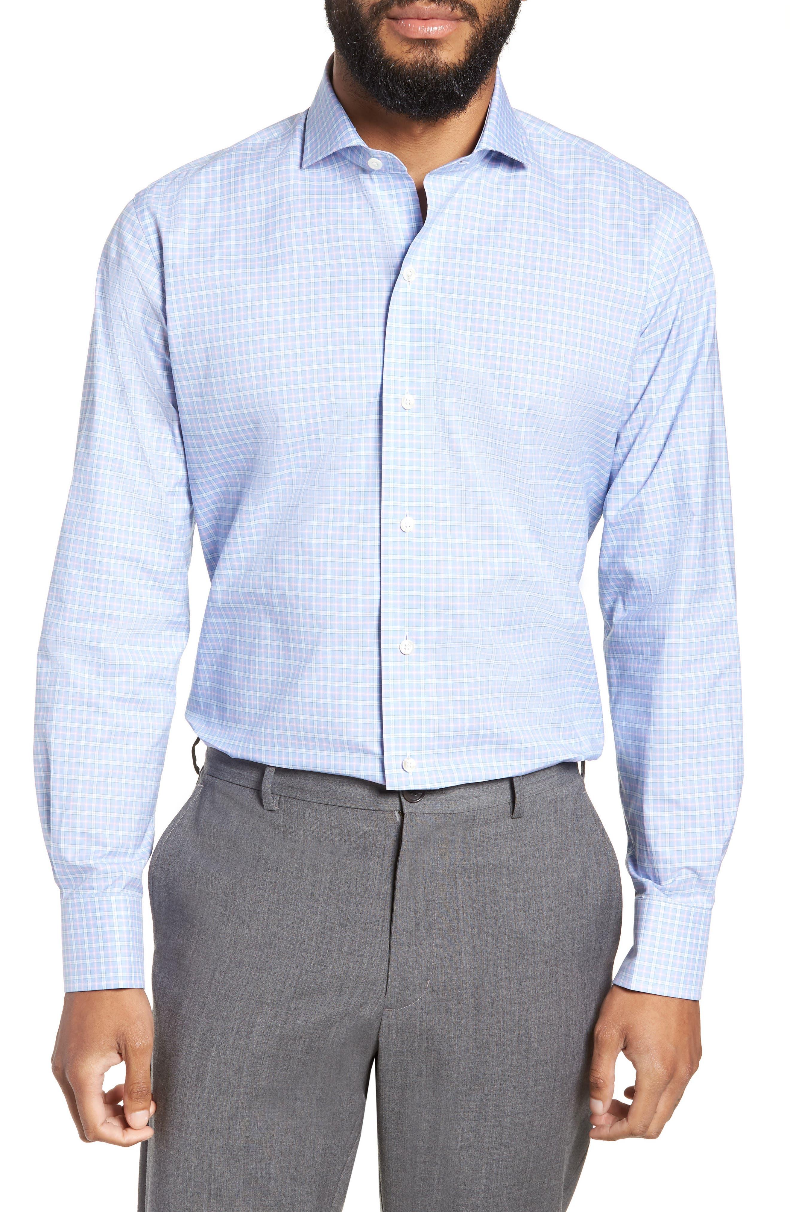 Ferris Slim Fit Check Dress Shirt,                         Main,                         color, LIGHT/ PASTEL BLUE