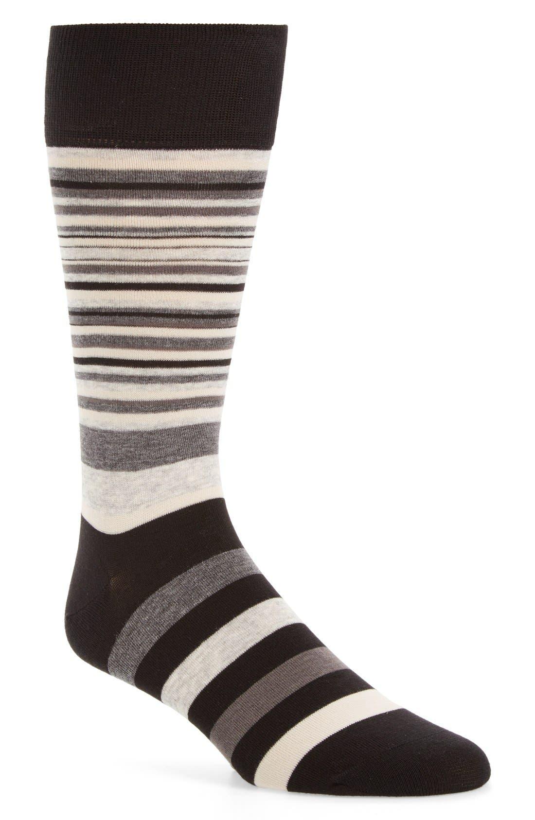 Town Stripe Crew Socks,                         Main,                         color, BLACK/ STORM CLOUD