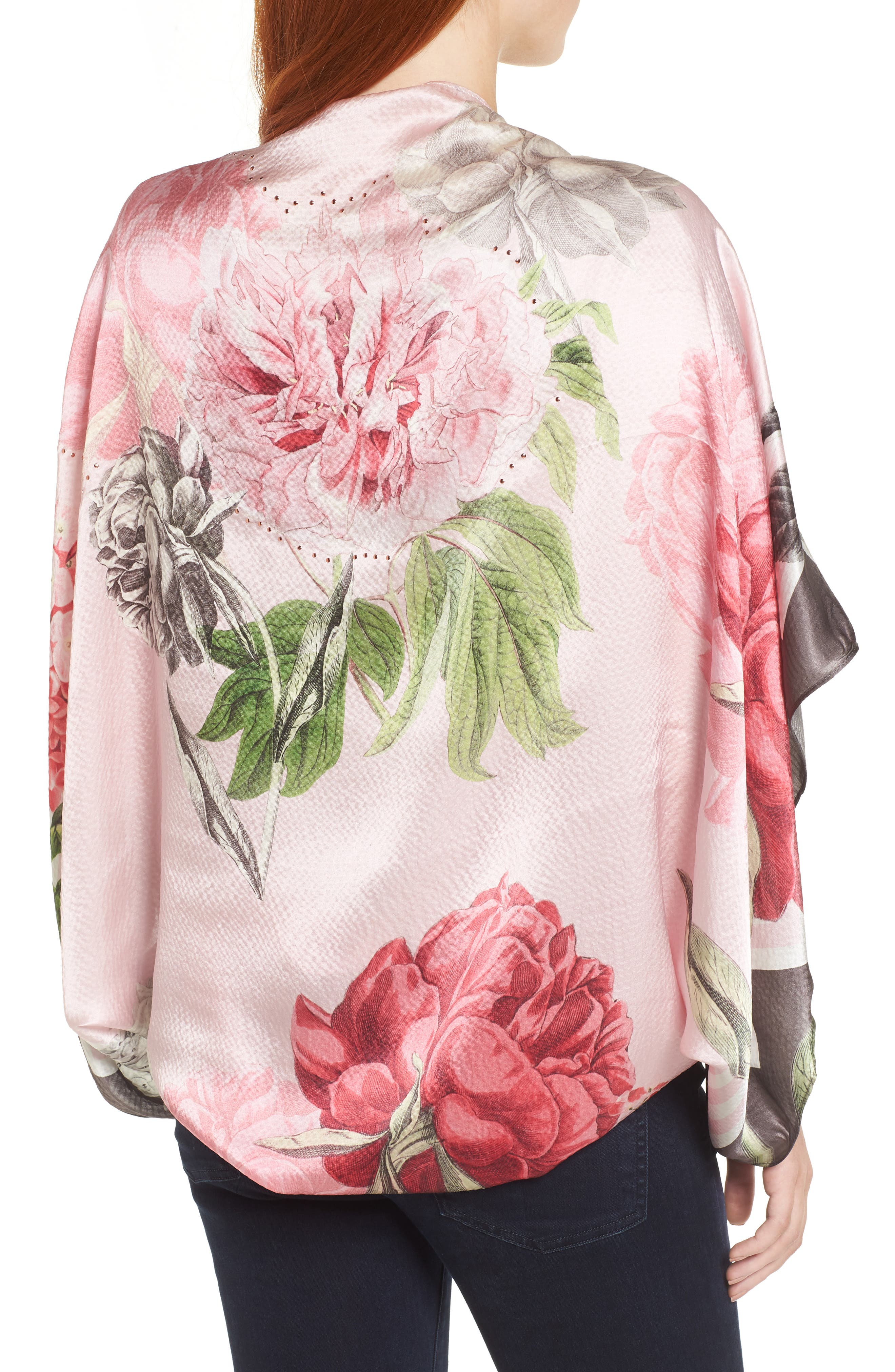 Palace Gardens Silk Cape Scarf,                             Alternate thumbnail 2, color,                             DUSKY PINK