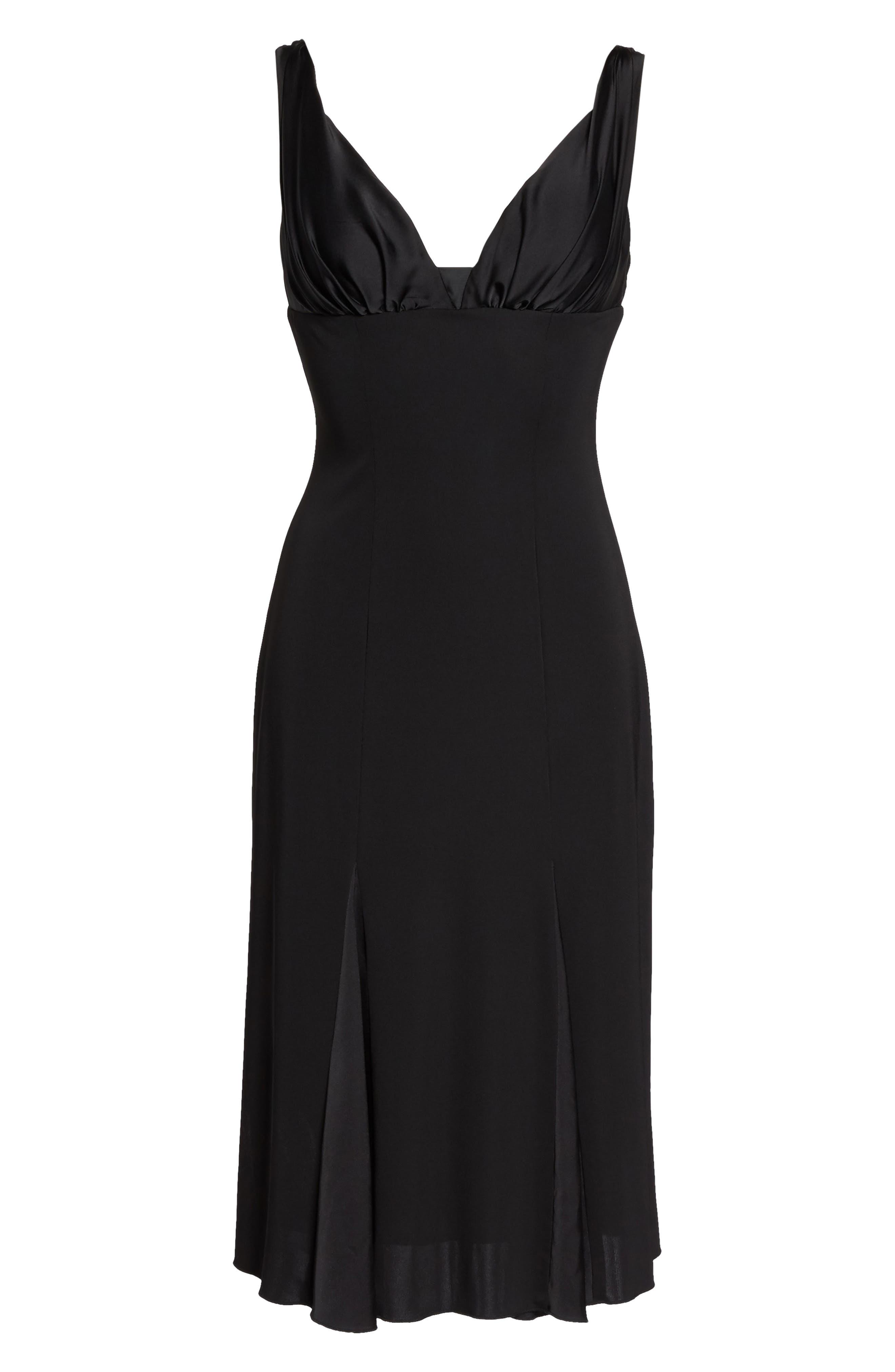 Jersey & Satin Dress,                             Alternate thumbnail 6, color,                             001