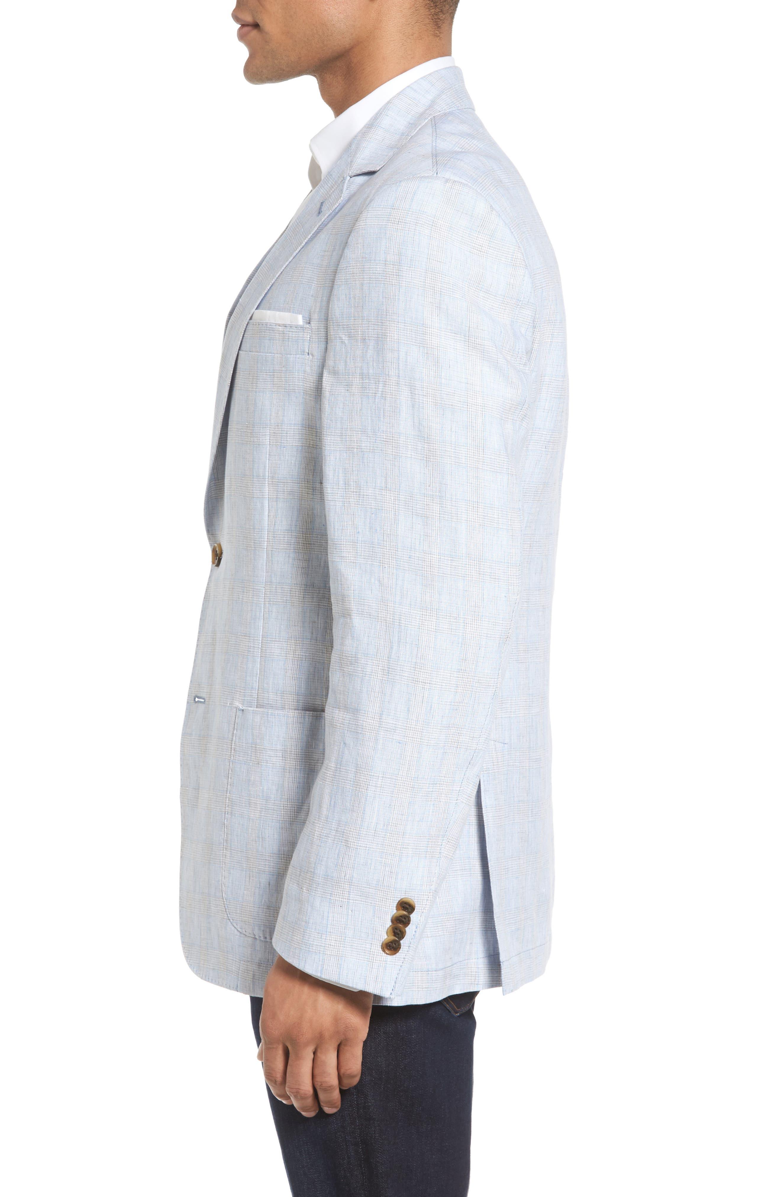 Glen Plaid Linen Sport Coat,                             Alternate thumbnail 3, color,