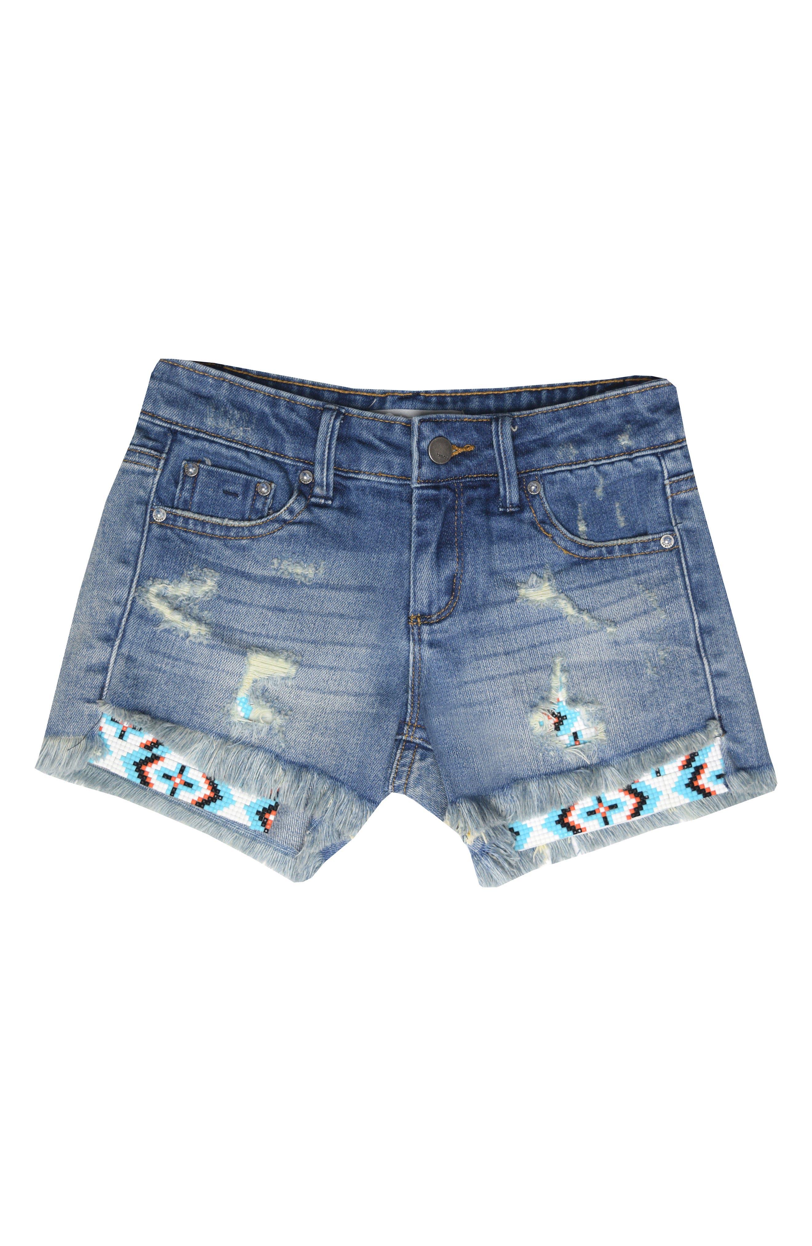 Beaded Distressed Denim Shorts,                             Main thumbnail 1, color,                             409