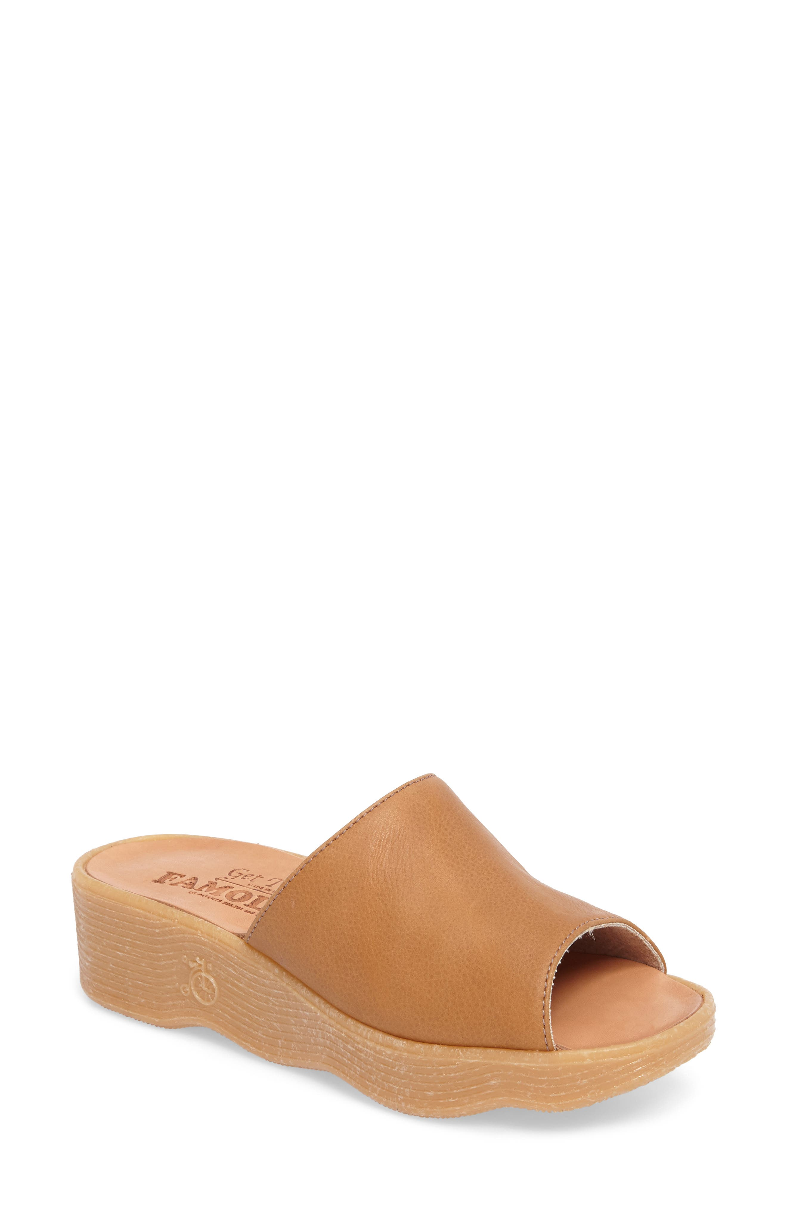 Slide N Sleek Wedge Slide Sandal,                         Main,                         color, COGNAC LEATHER