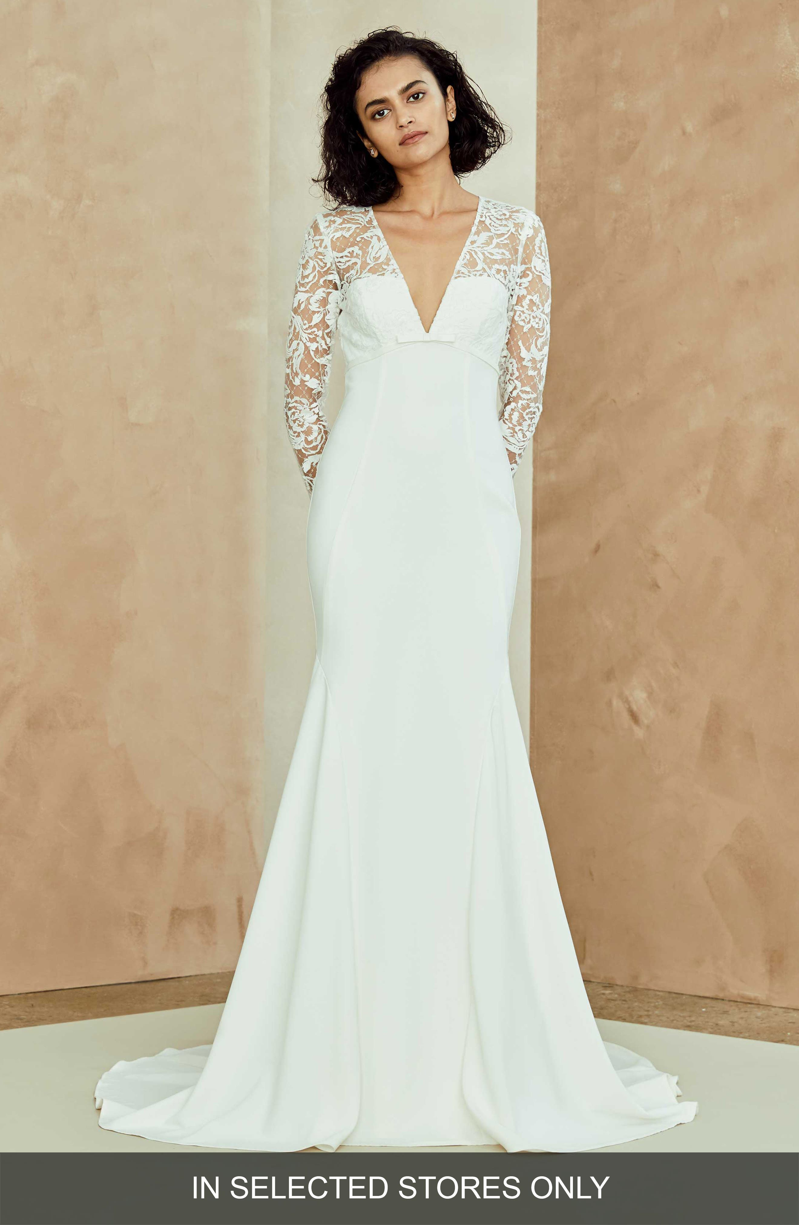 Julianna Lace & Crepe Trumpet Gown,                         Main,                         color, IVORY