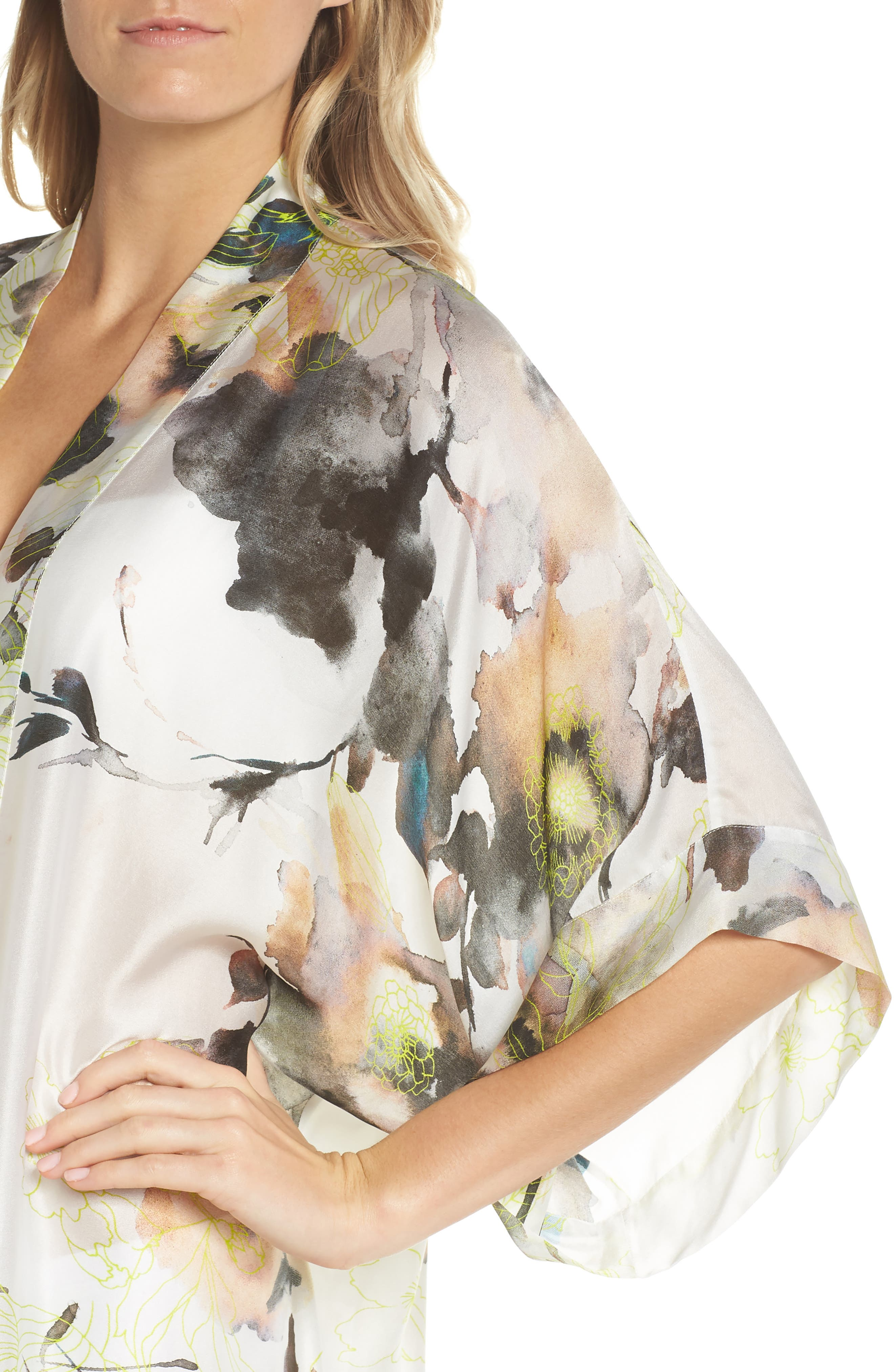 Floral Print Silk Robe,                             Alternate thumbnail 4, color,                             LIMELIGHT PRINT