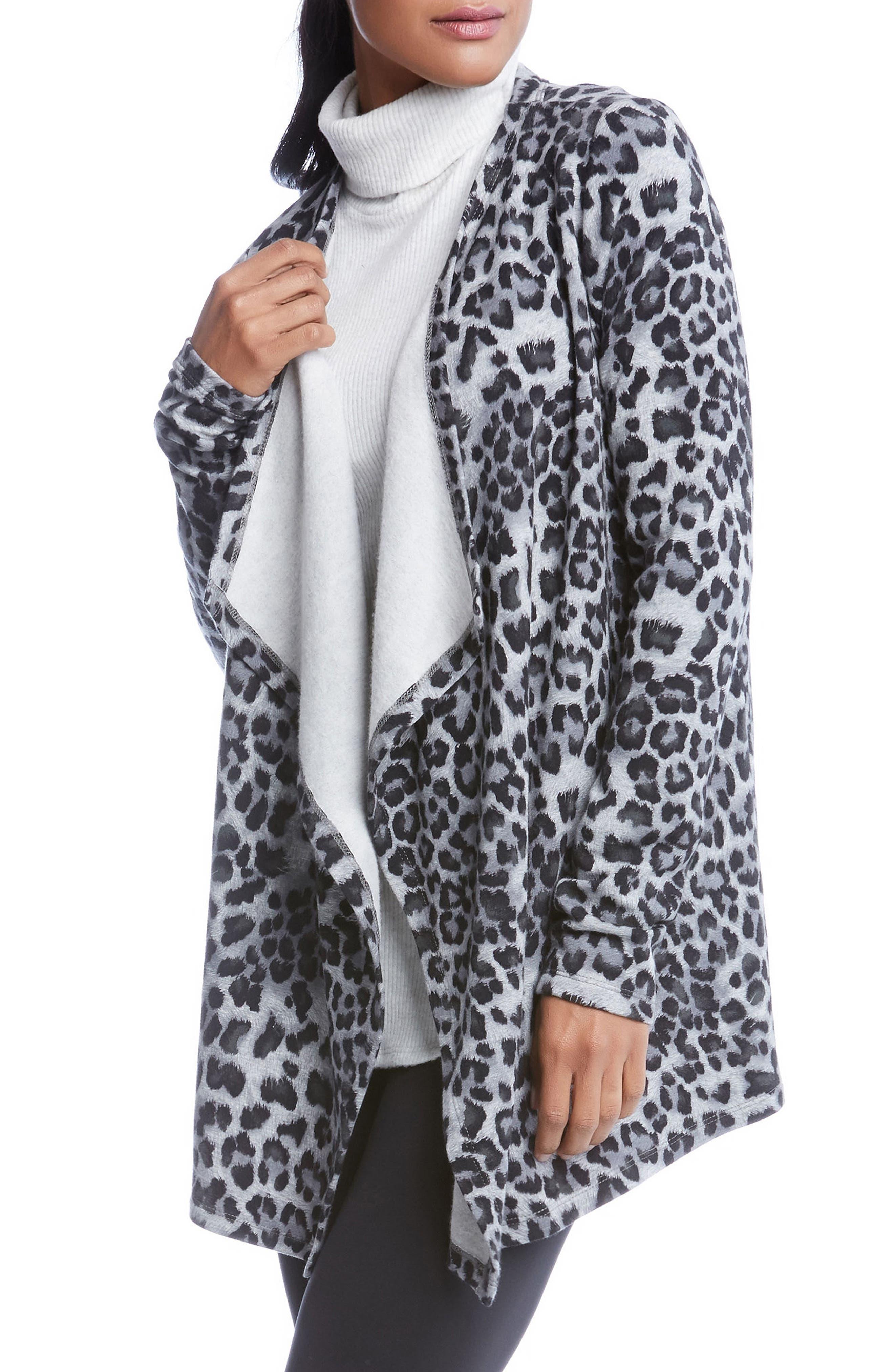 Leopard Print Fleece Cardigan,                         Main,                         color,