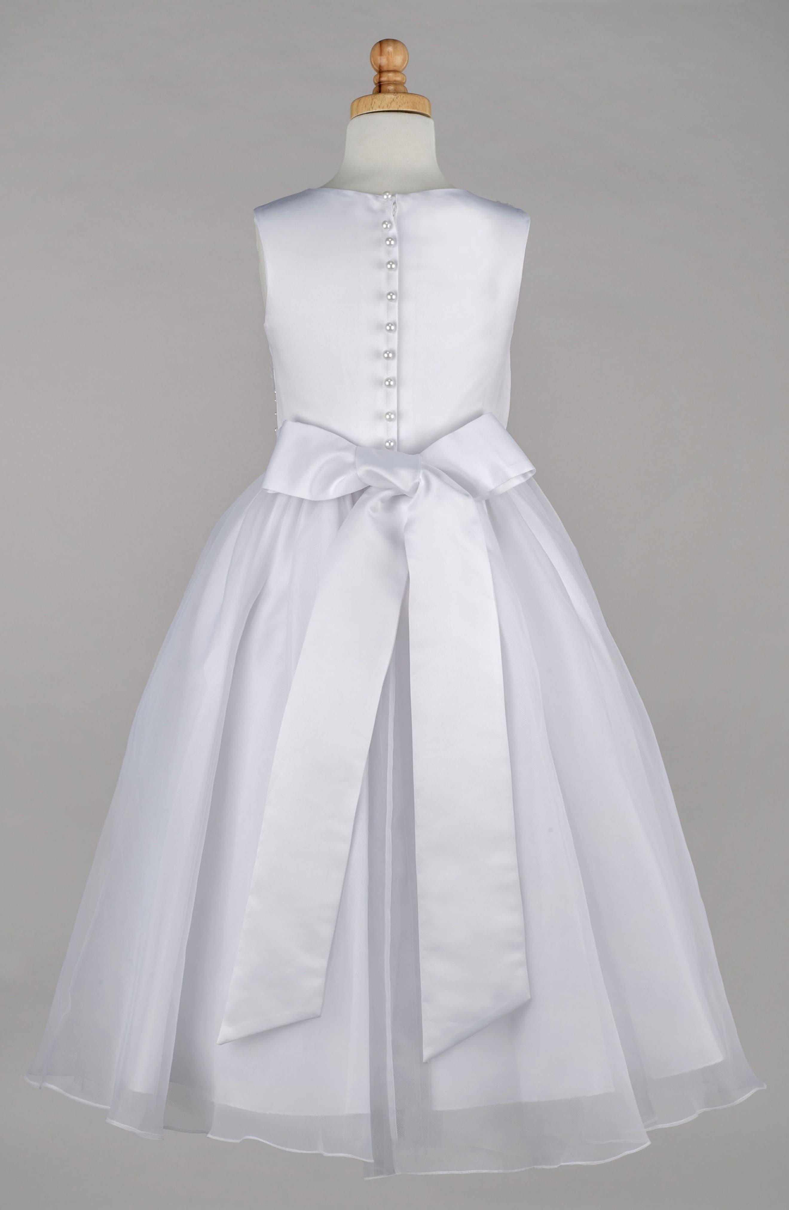 Beaded Daisy Bodice First Communion Dress,                             Alternate thumbnail 2, color,