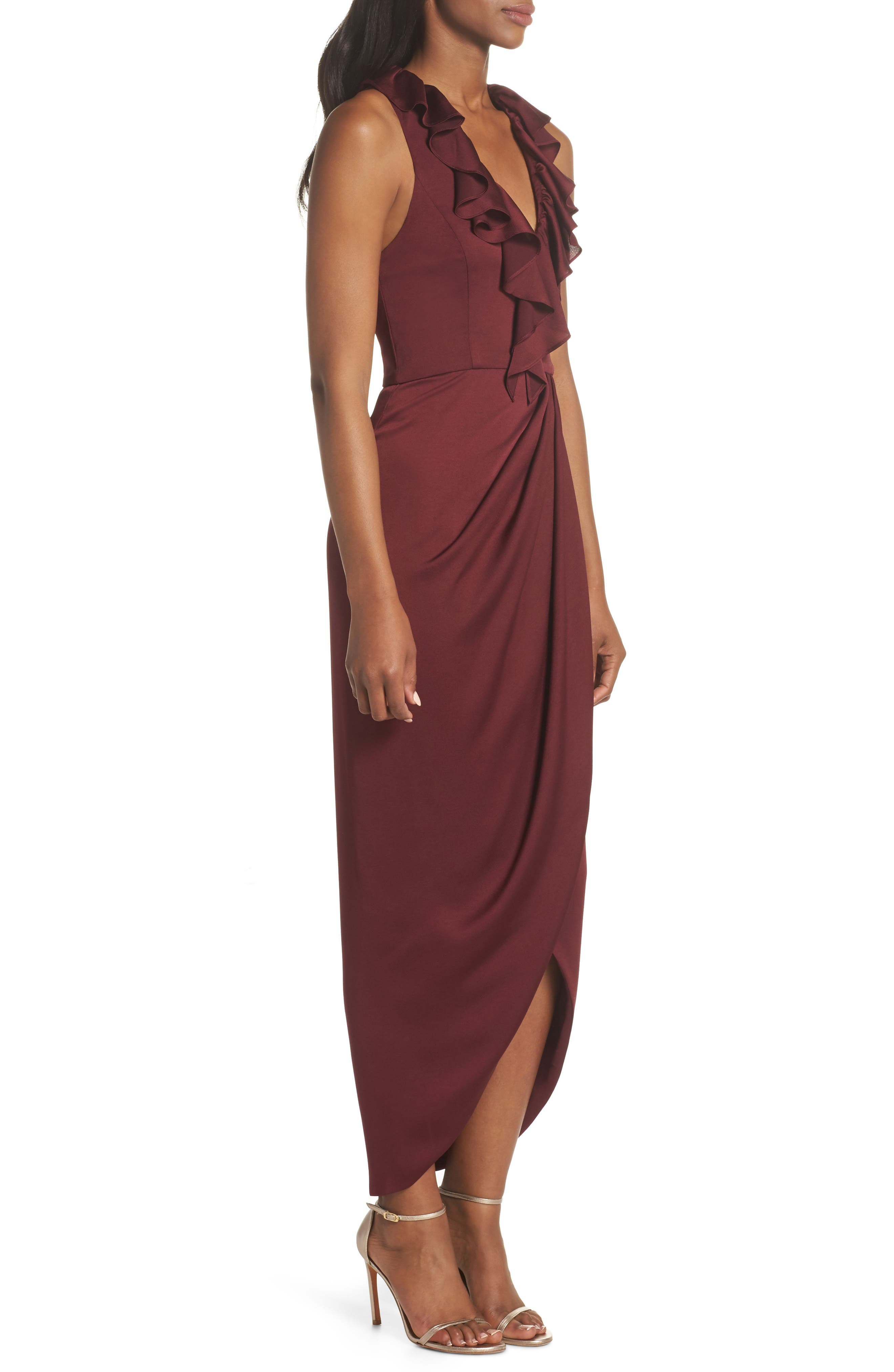 Luxe Plunging Frill Maxi Dress,                             Alternate thumbnail 3, color,                             GARNET