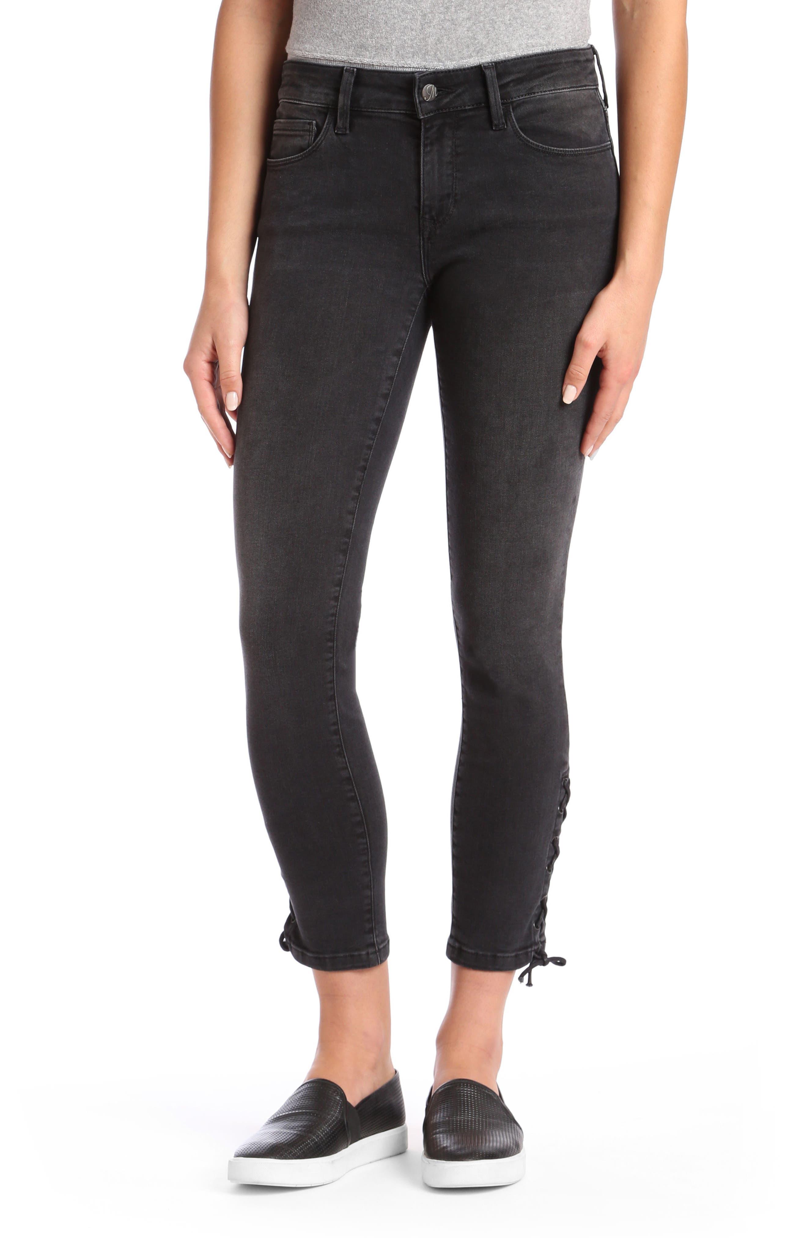 Mavi Adriana Lace Up Ankle Super Skinny Jeans,                         Main,                         color, 001