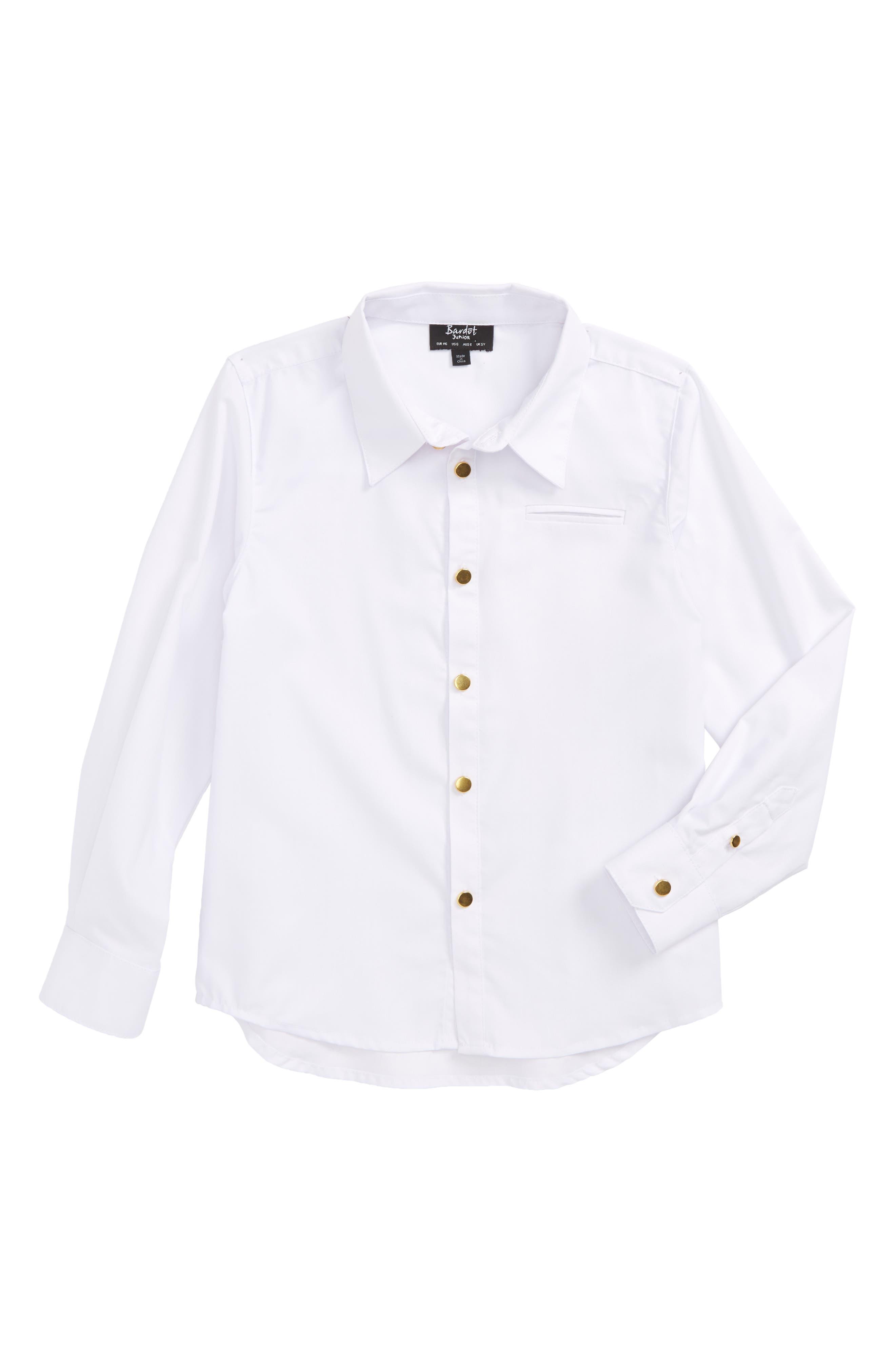 BARDOT JUNIOR,                             Goldtone Button Shirt,                             Main thumbnail 1, color,                             100