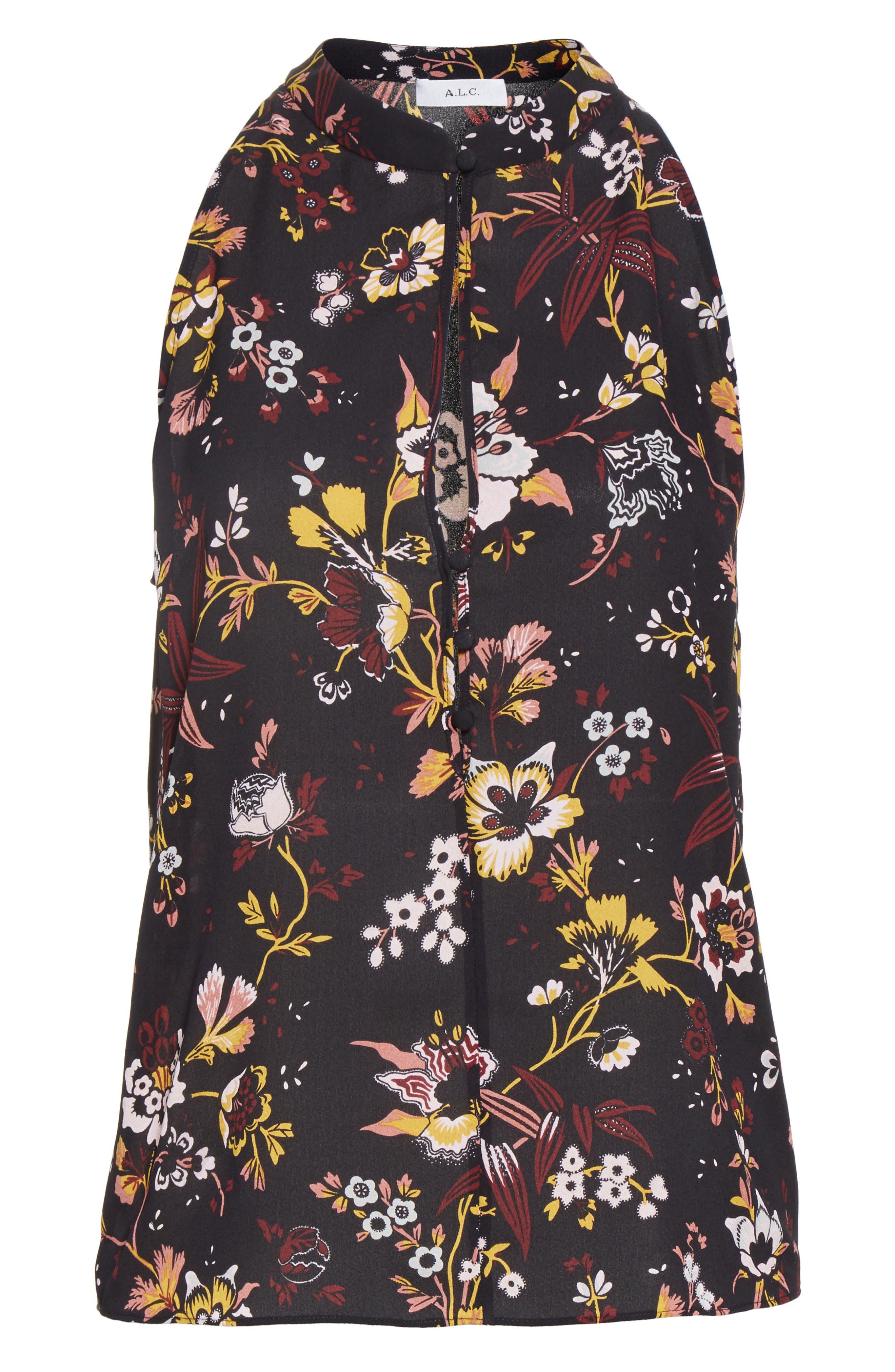 Keith Floral Print Silk Top,                             Alternate thumbnail 6, color,                             002