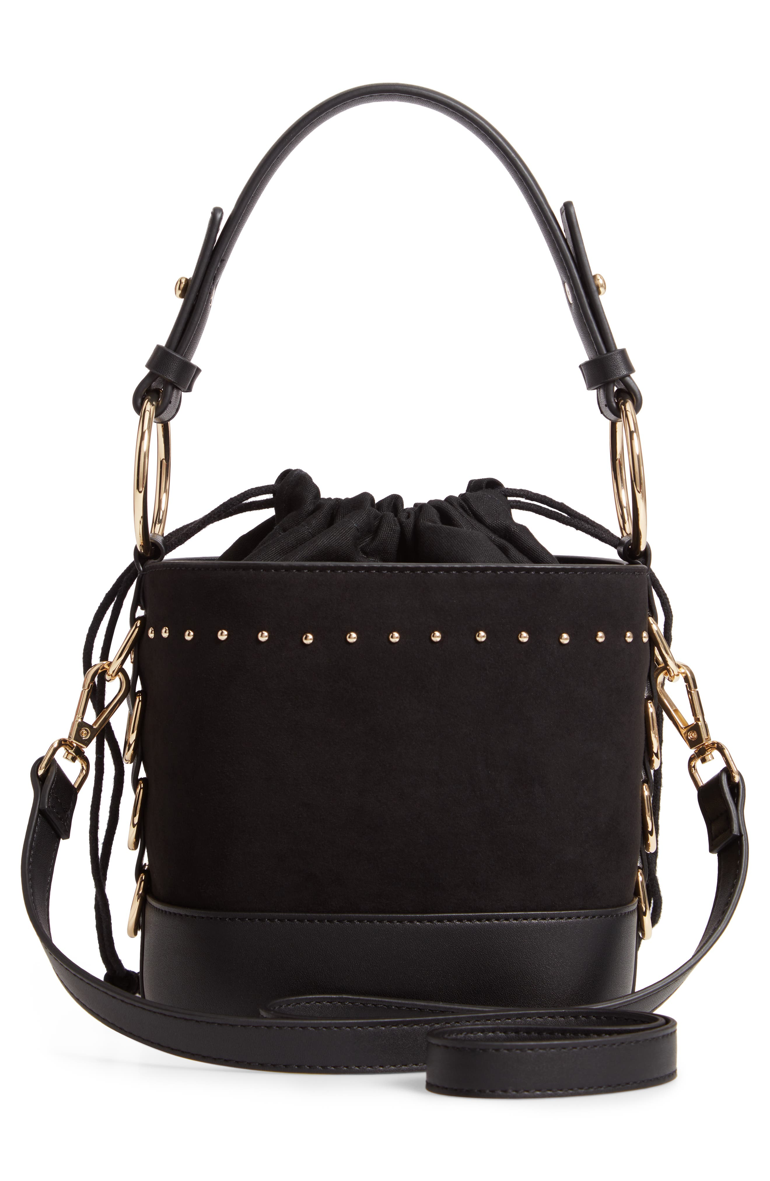 Bianca Studded Faux Leather Bucket Bag,                             Alternate thumbnail 3, color,                             001