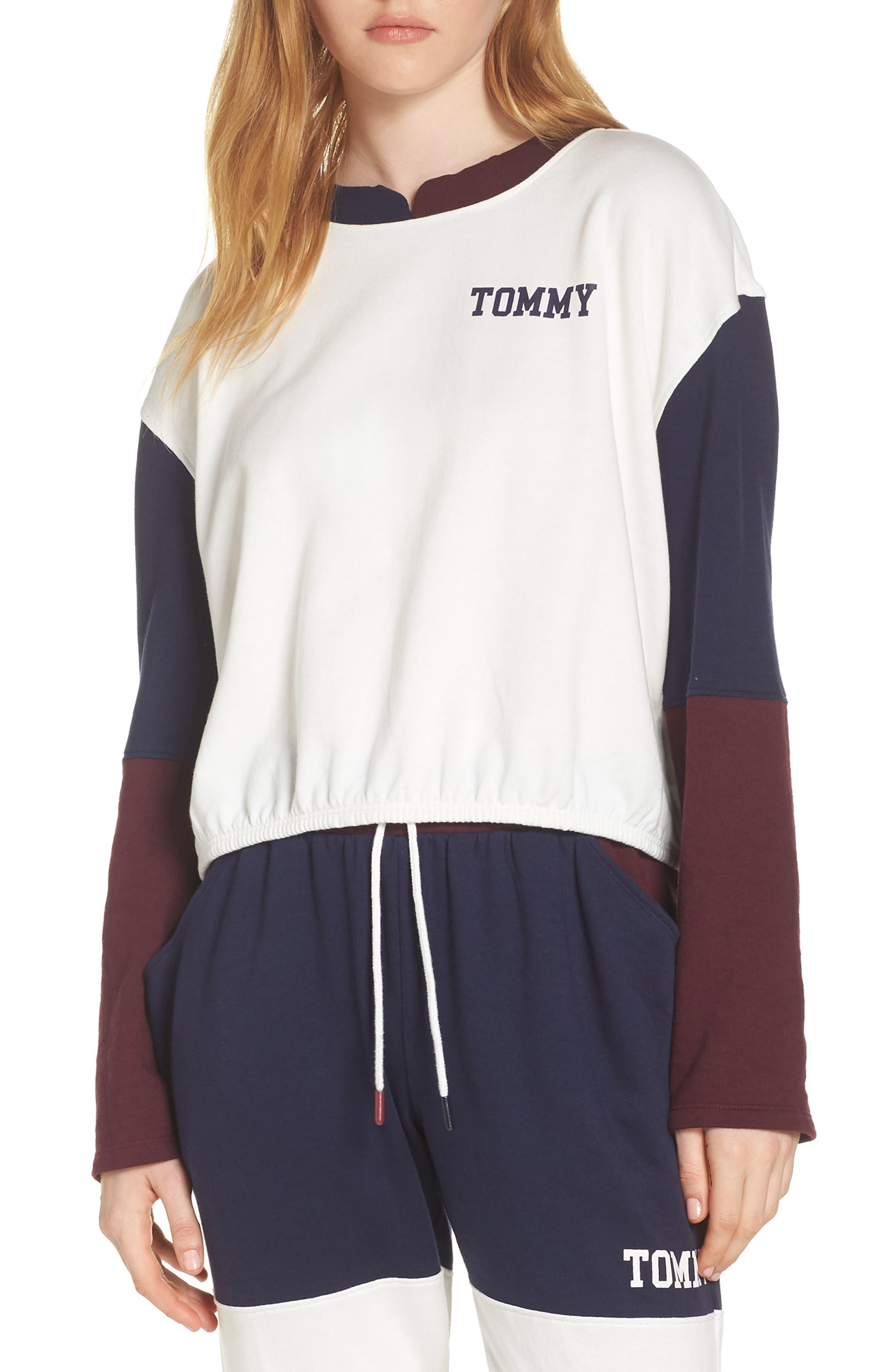 Colorblock Sweatshirt, Main, color, EGRET