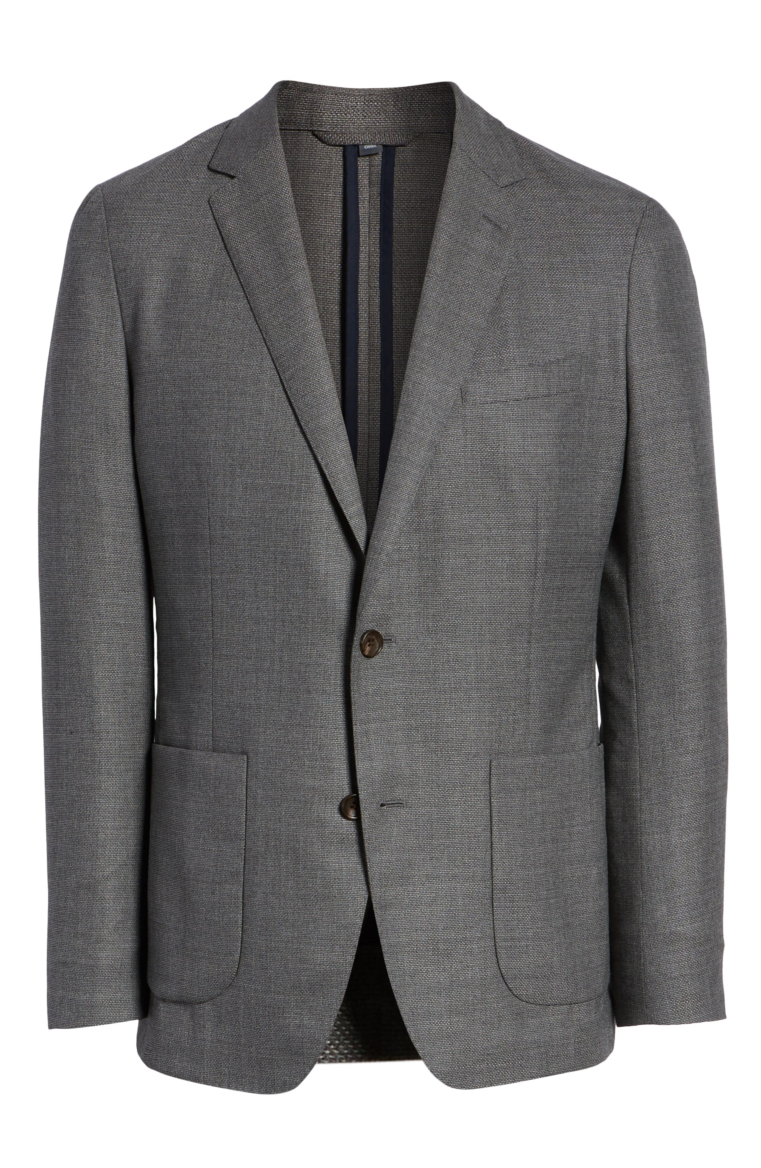 Trim Fit Wool Blazer,                             Alternate thumbnail 5, color,                             MID GREY