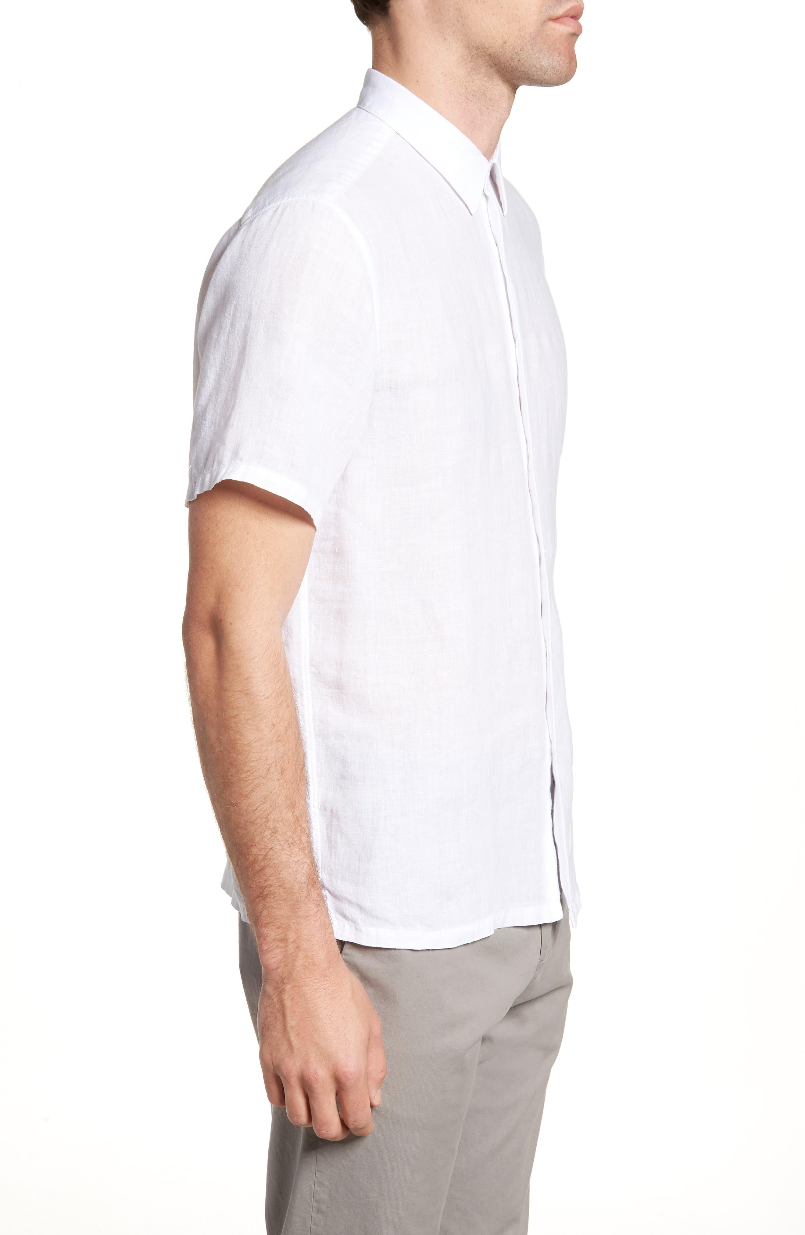 Irving Trim Fit Linen Short Sleeve Sport Shirt,                             Alternate thumbnail 3, color,                             100