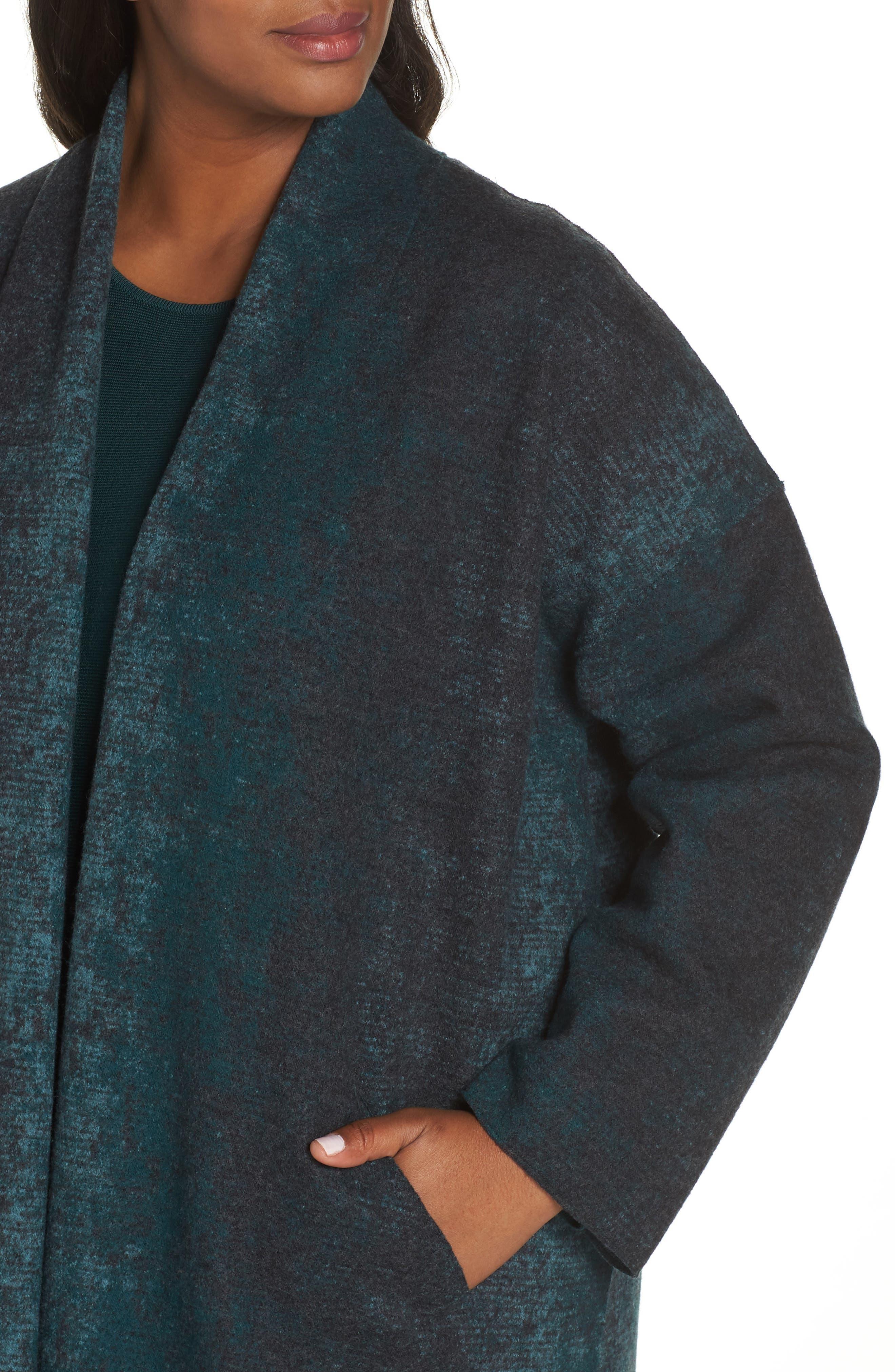 Long Wool Blend Kimono Jacket,                             Alternate thumbnail 4, color,                             PINE