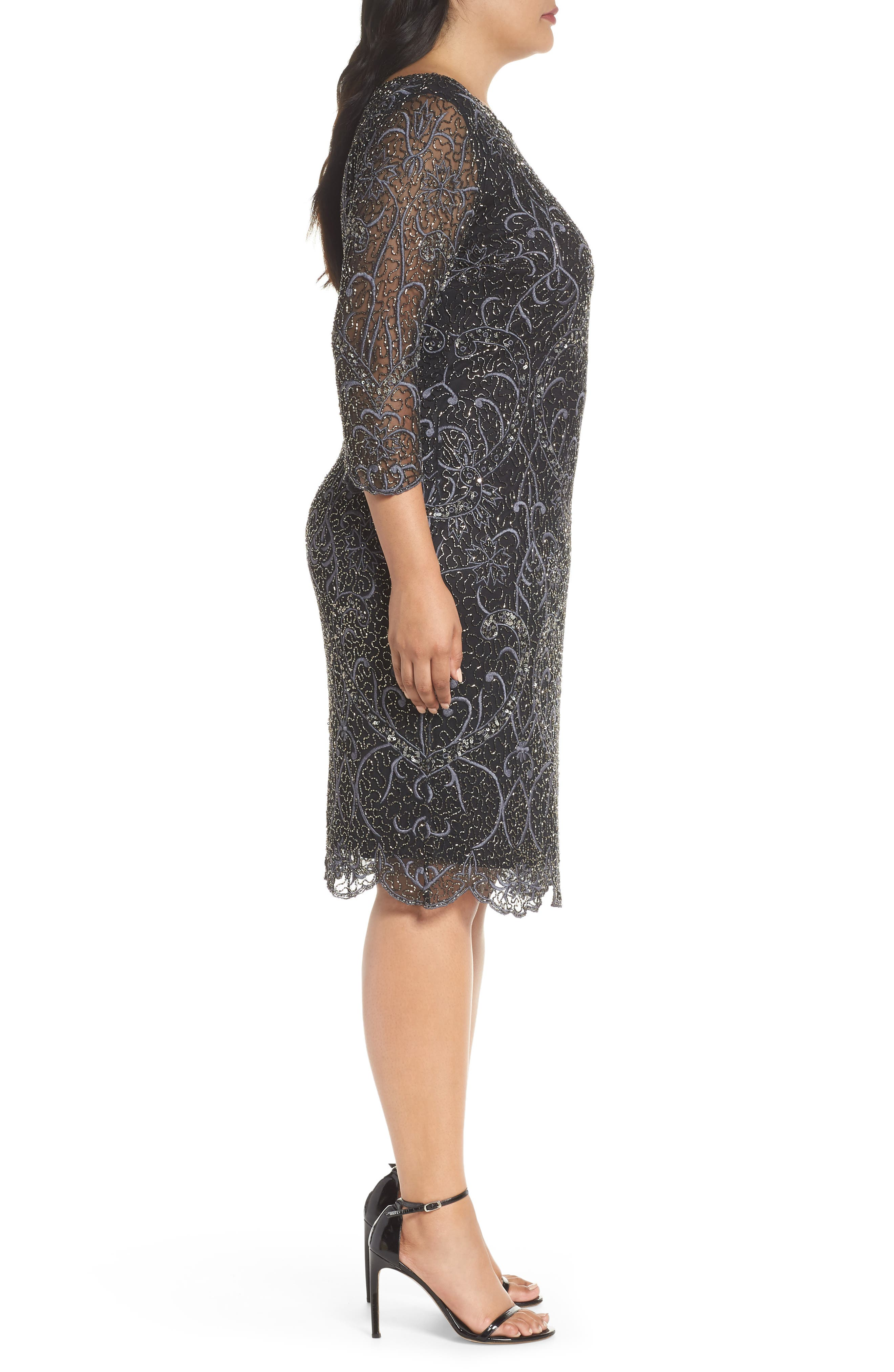 Embellished Sheath Dress,                             Alternate thumbnail 3, color,                             001