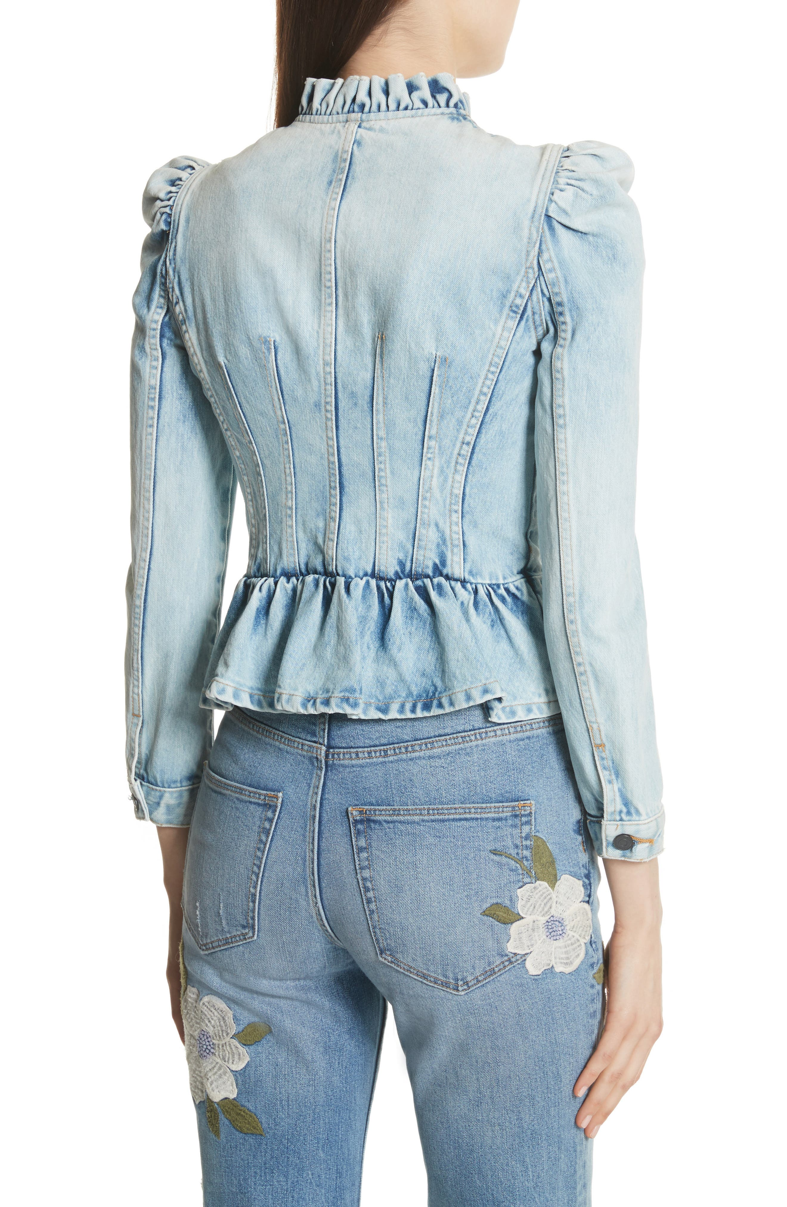Denim Peplum Jacket,                             Alternate thumbnail 2, color,                             NUAGE WASH
