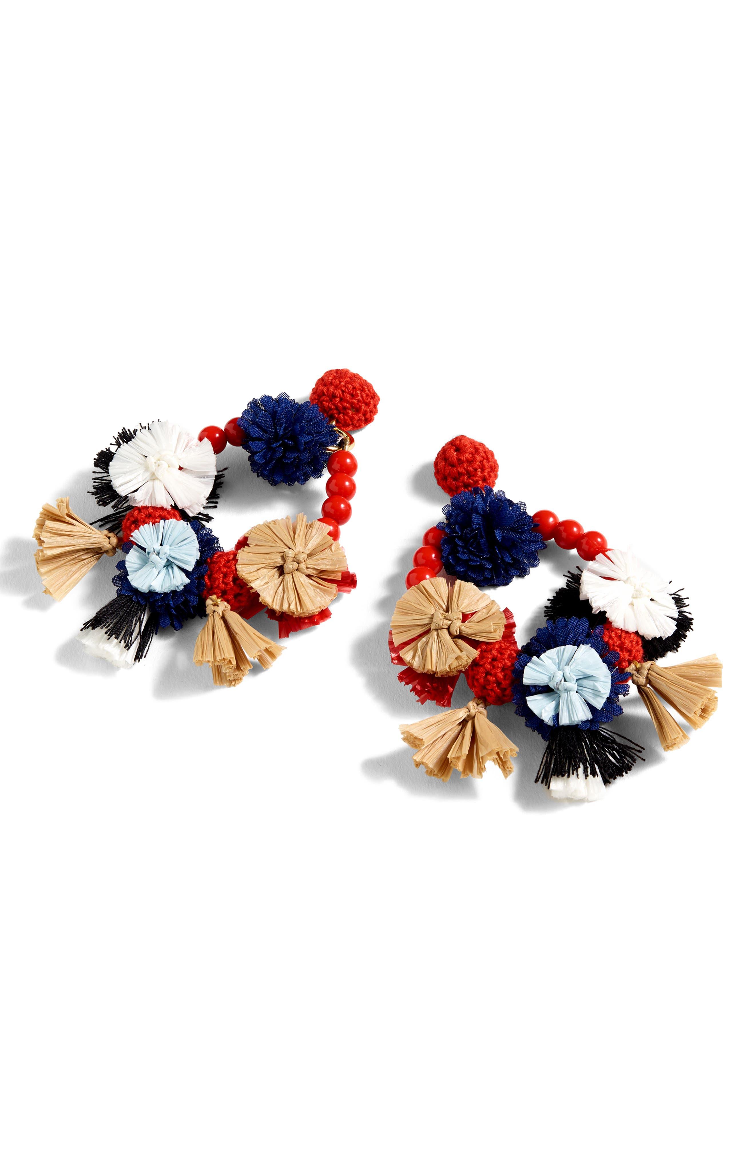 Flower Raffia Earrings,                         Main,                         color, 600