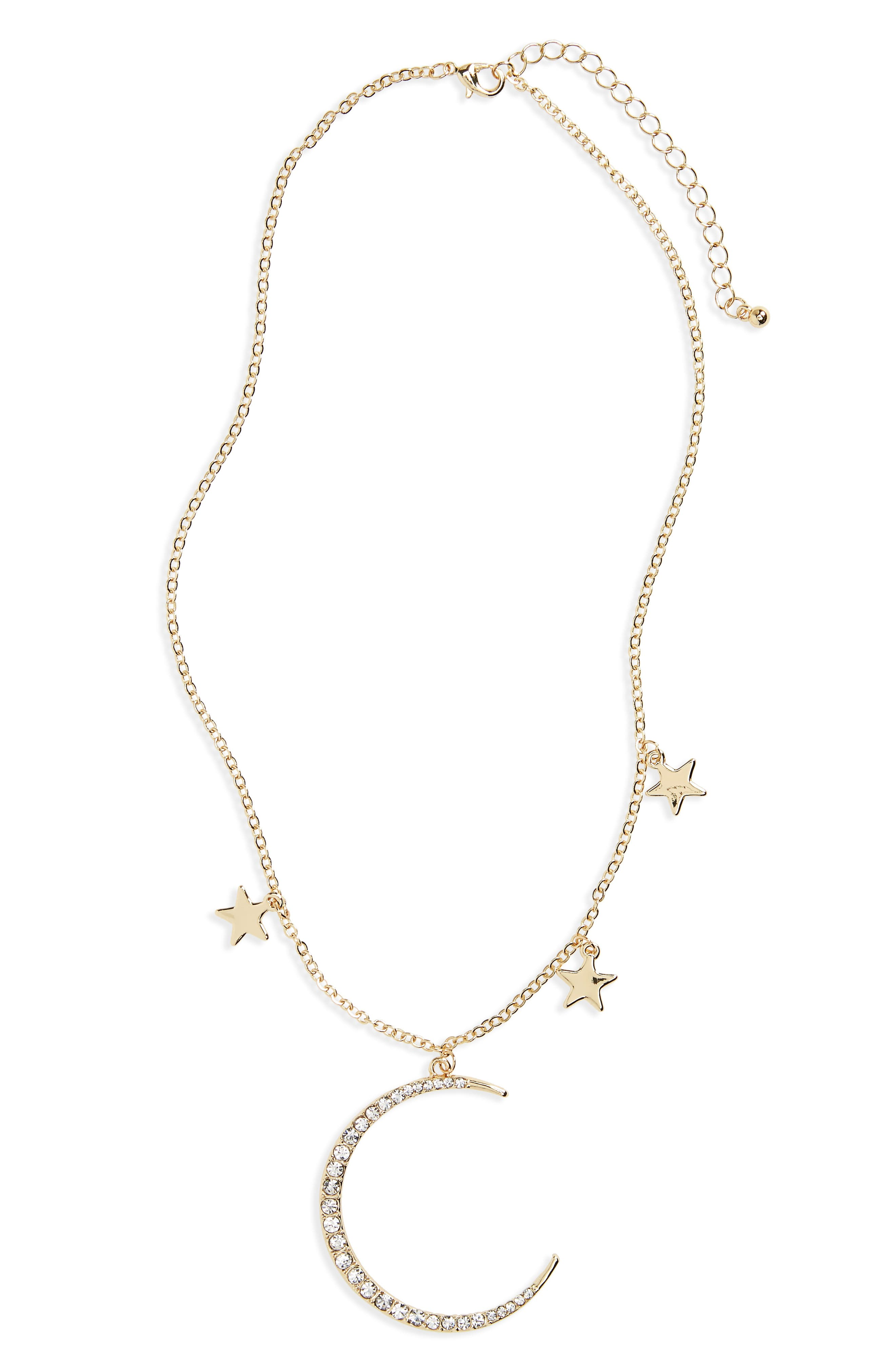 Moon & Stars Pendant Necklace,                             Main thumbnail 1, color,