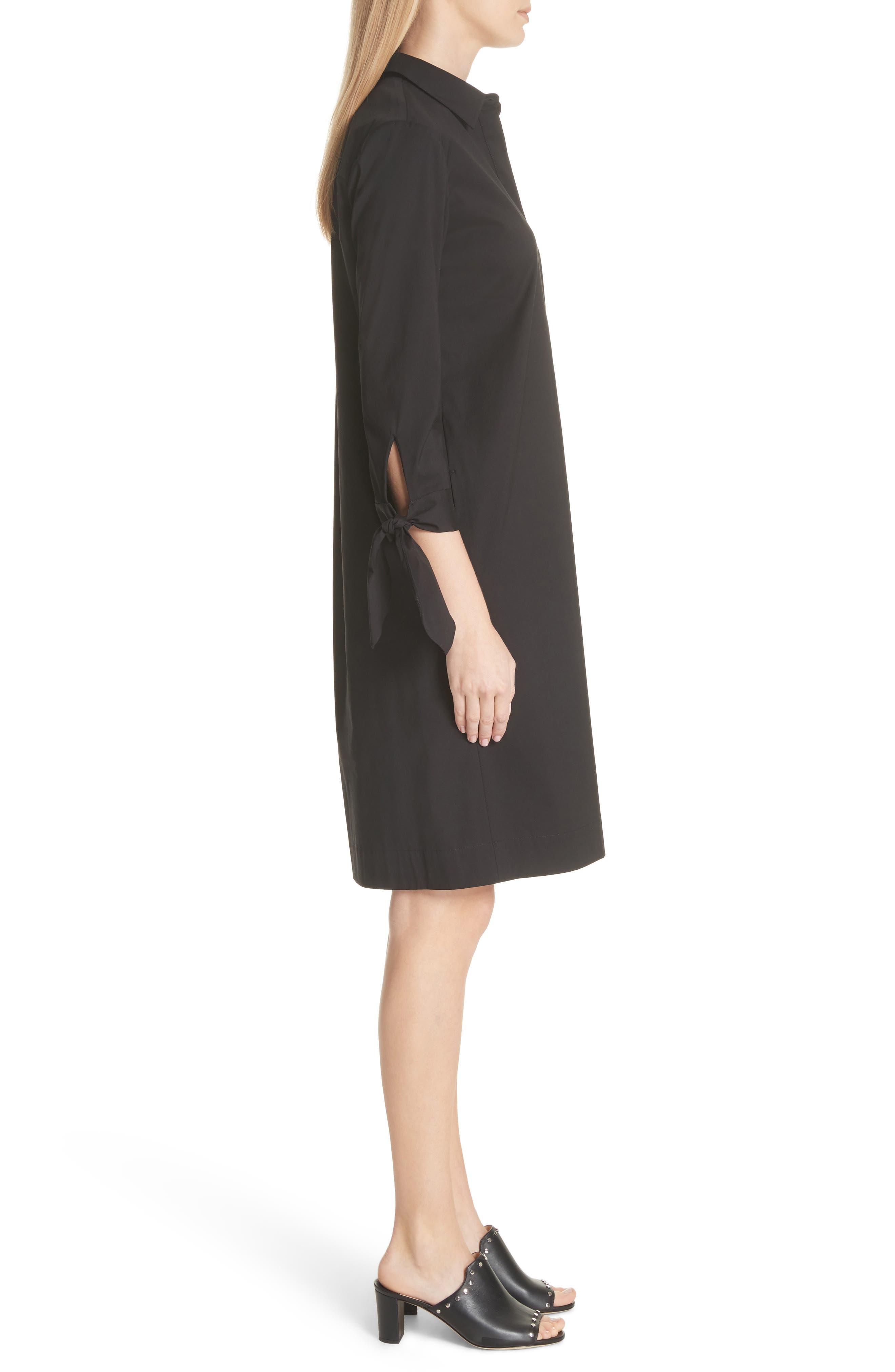 Talia Stretch Cotton Blend Dress,                             Alternate thumbnail 3, color,                             BLACK