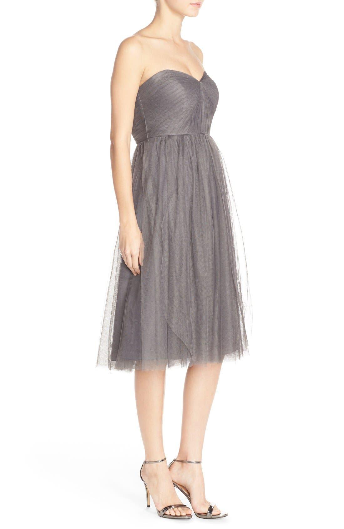 Maia Convertible Tulle Tea Length Fit & Flare Dress,                             Alternate thumbnail 3, color,                             028