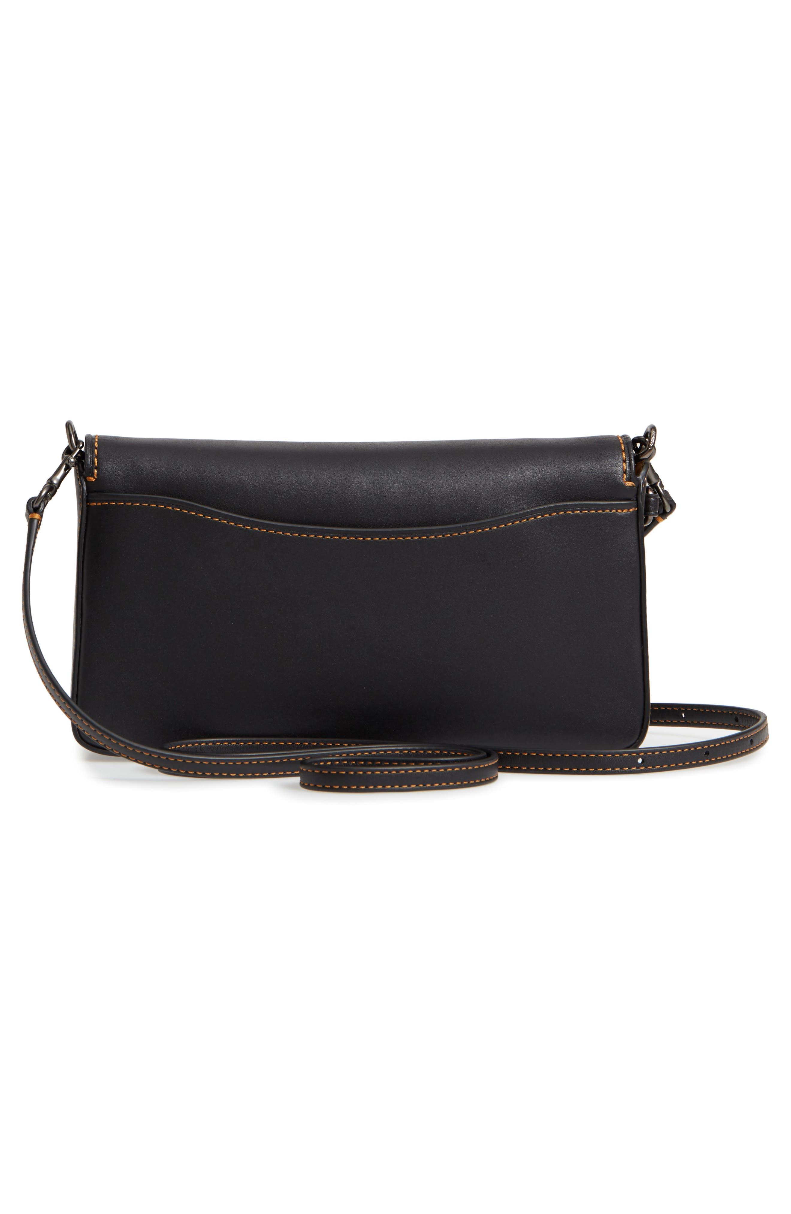Dinky Crossbody Leather Bag,                             Alternate thumbnail 3, color,                             BLACK HONEY