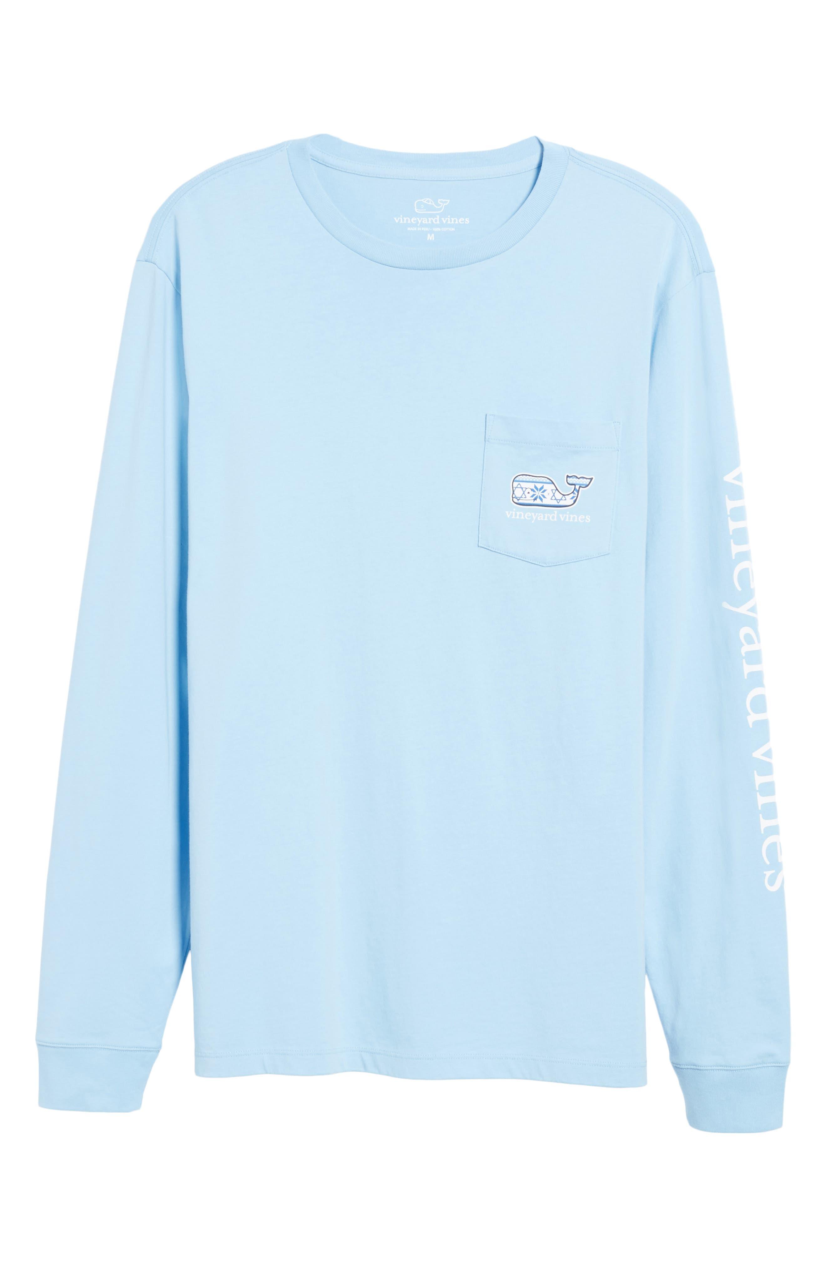 Hanukkah Fair Isle Whale Fill Pocket T-Shirt,                             Alternate thumbnail 6, color,                             456